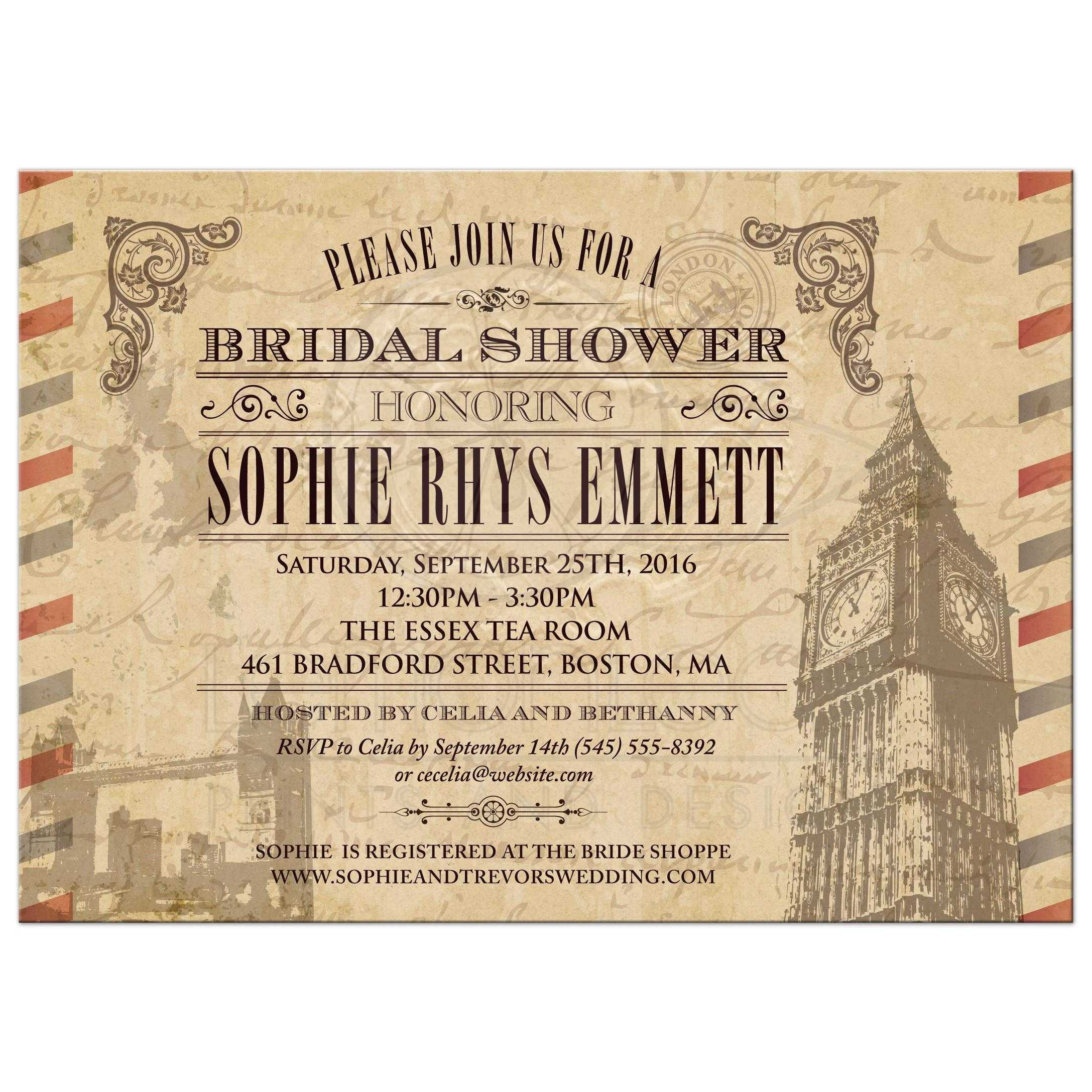 Bridal wedding shower invitation vintage london uk airmail filmwisefo