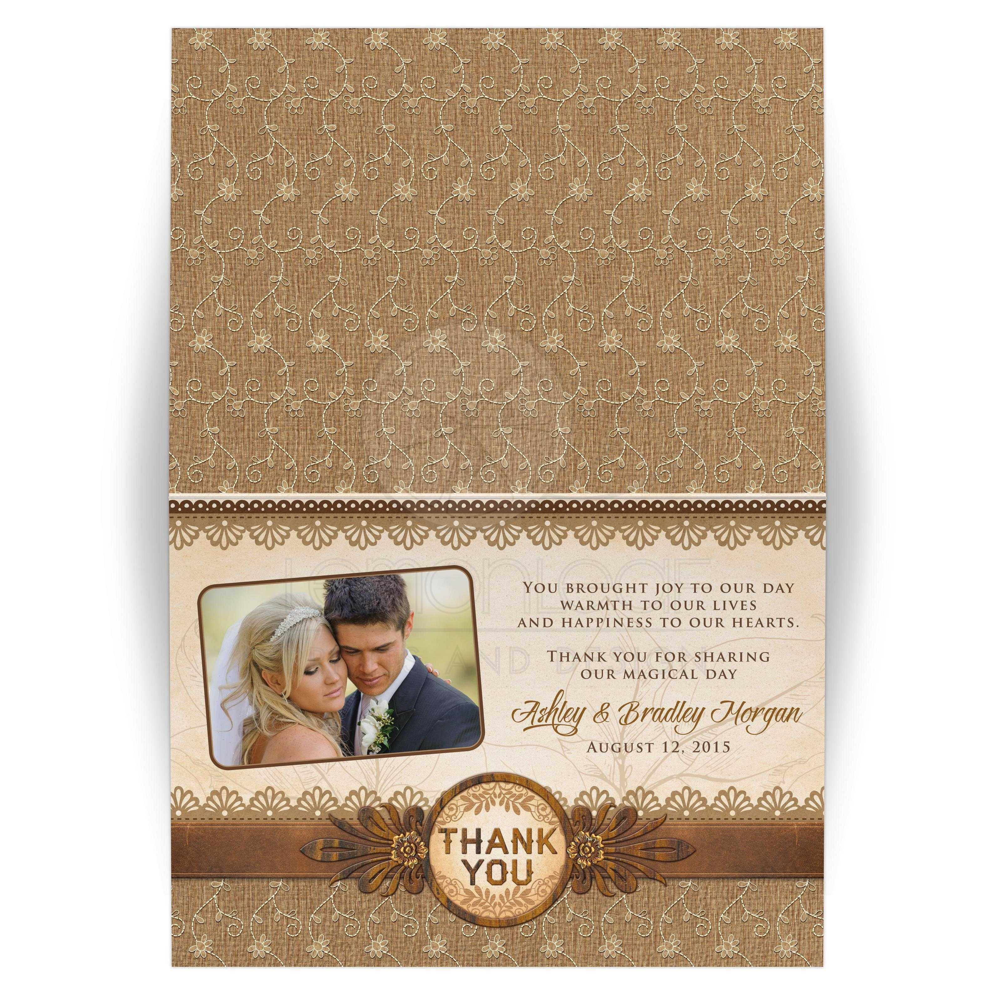 Elegant Rustic Burlap Lace And Wood Photo Wedding Thank You Card