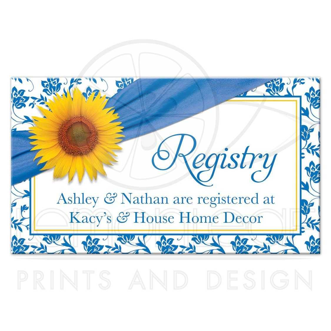 Wedding registry card sunflower french blue damask floral for At home wedding registry