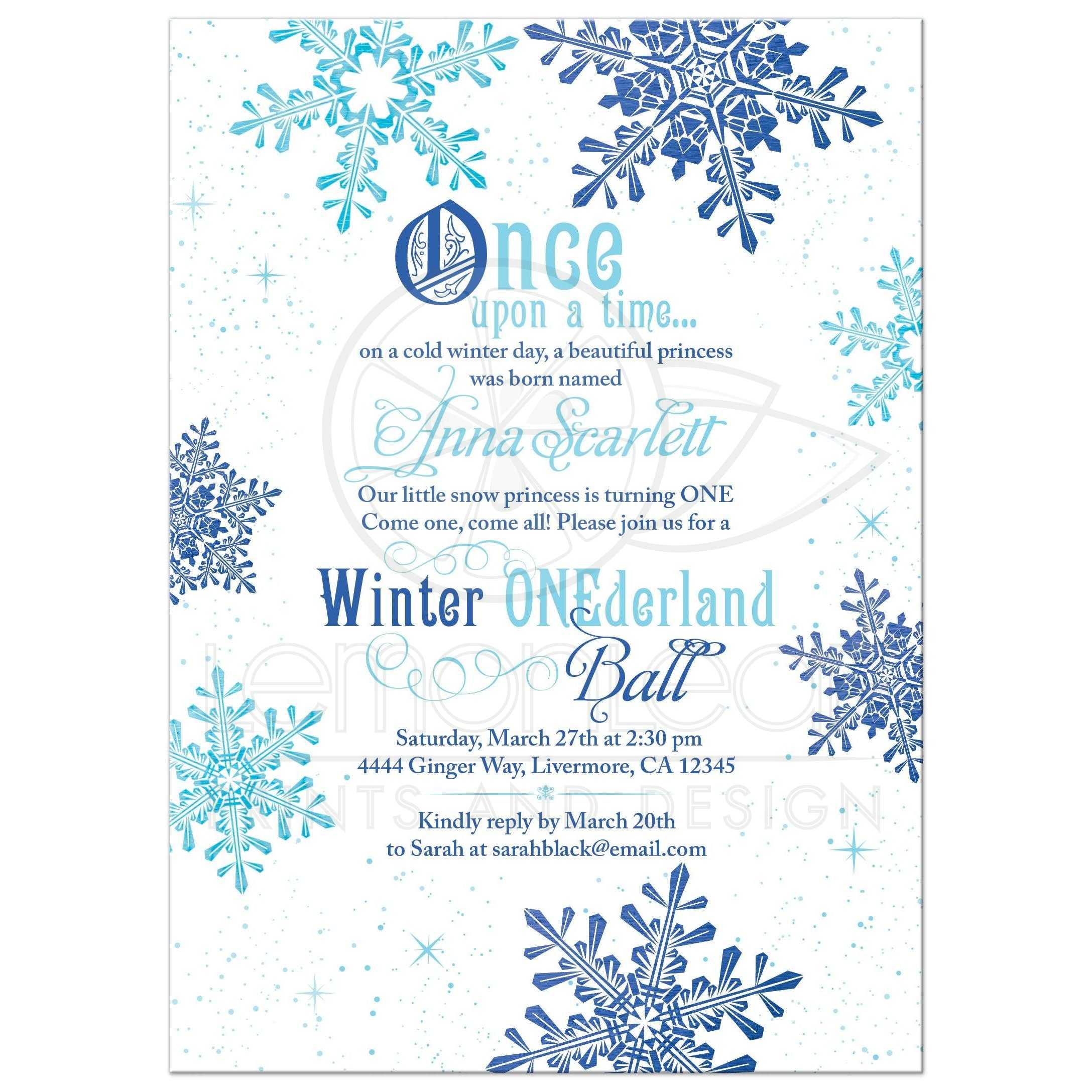 Snowflake Snow Princess Onederland First Birthday Invitation