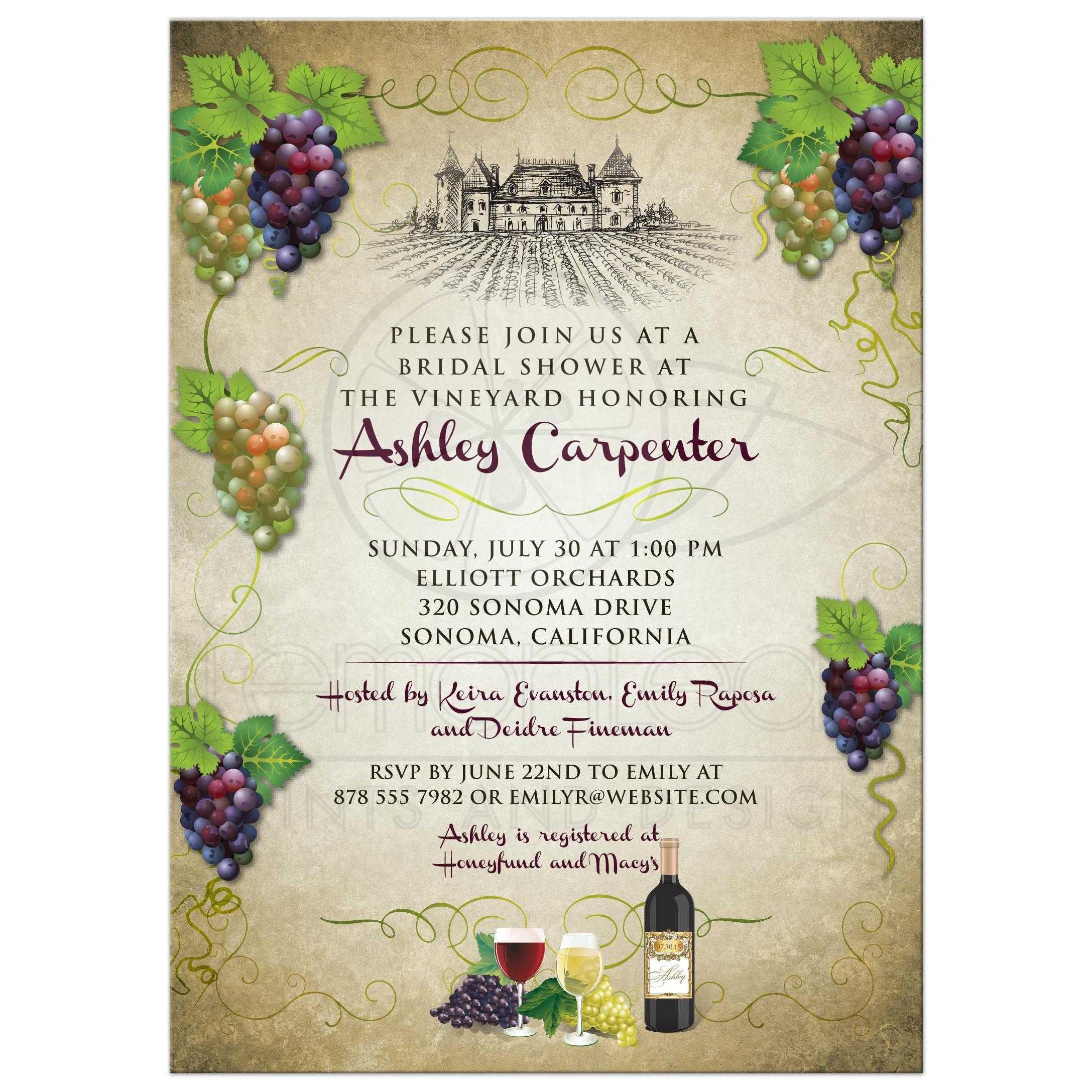 Bridal Wedding Shower invitation - Vineyard Wine and Grapes