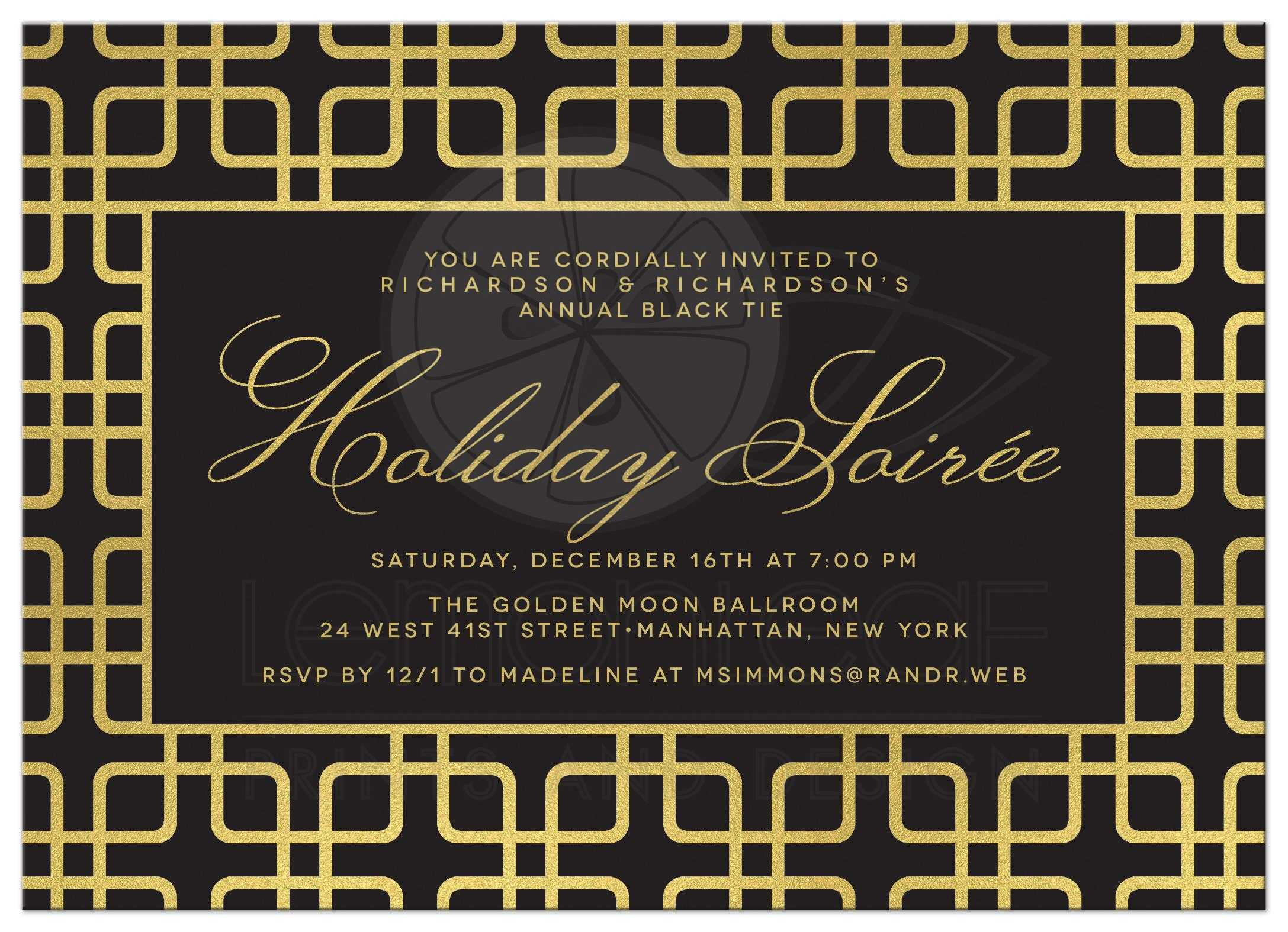 Black Gold Geometric Corporate Holiday Party Invitations Front