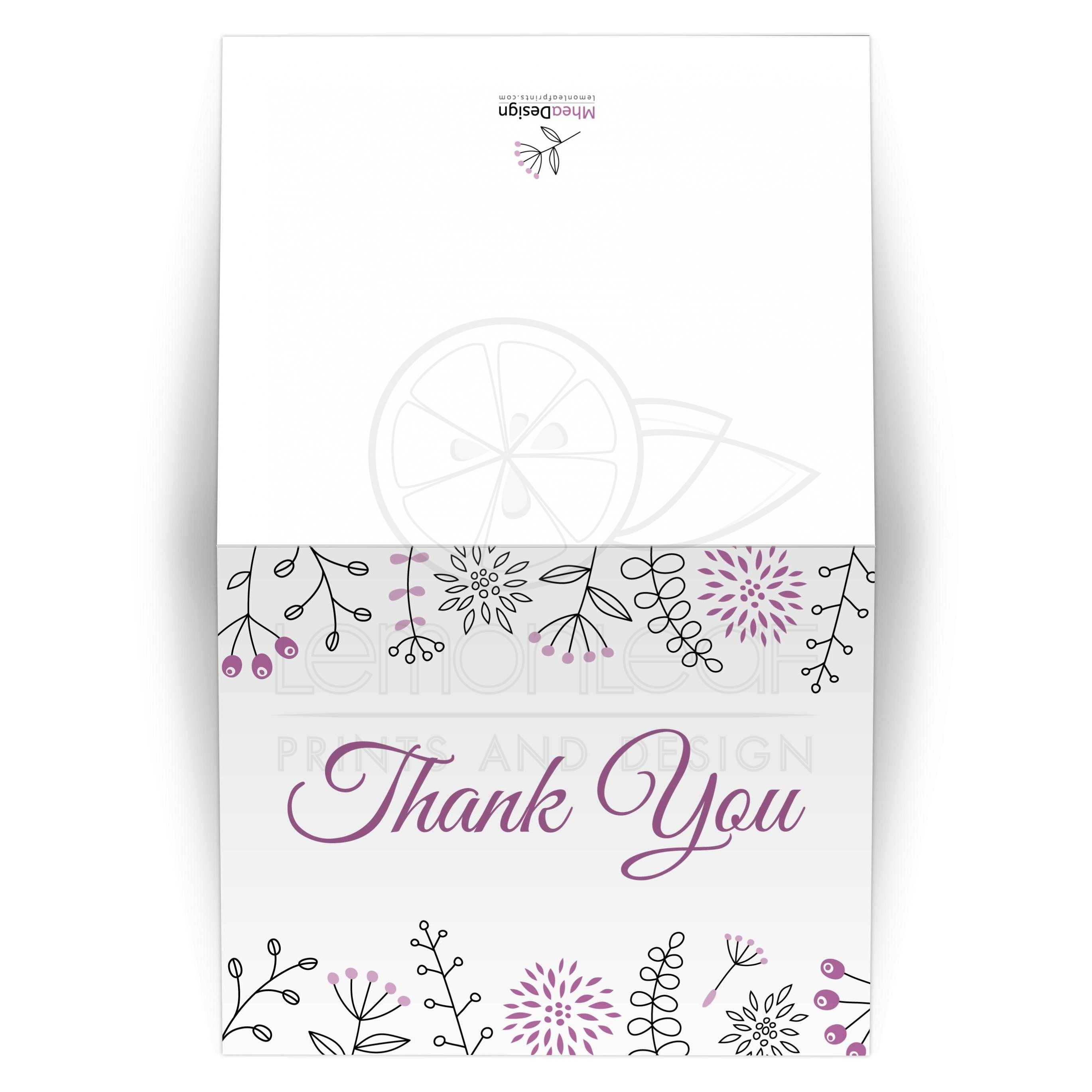Modern Purple Flower And Nature Doodle Wedding Thank You Card
