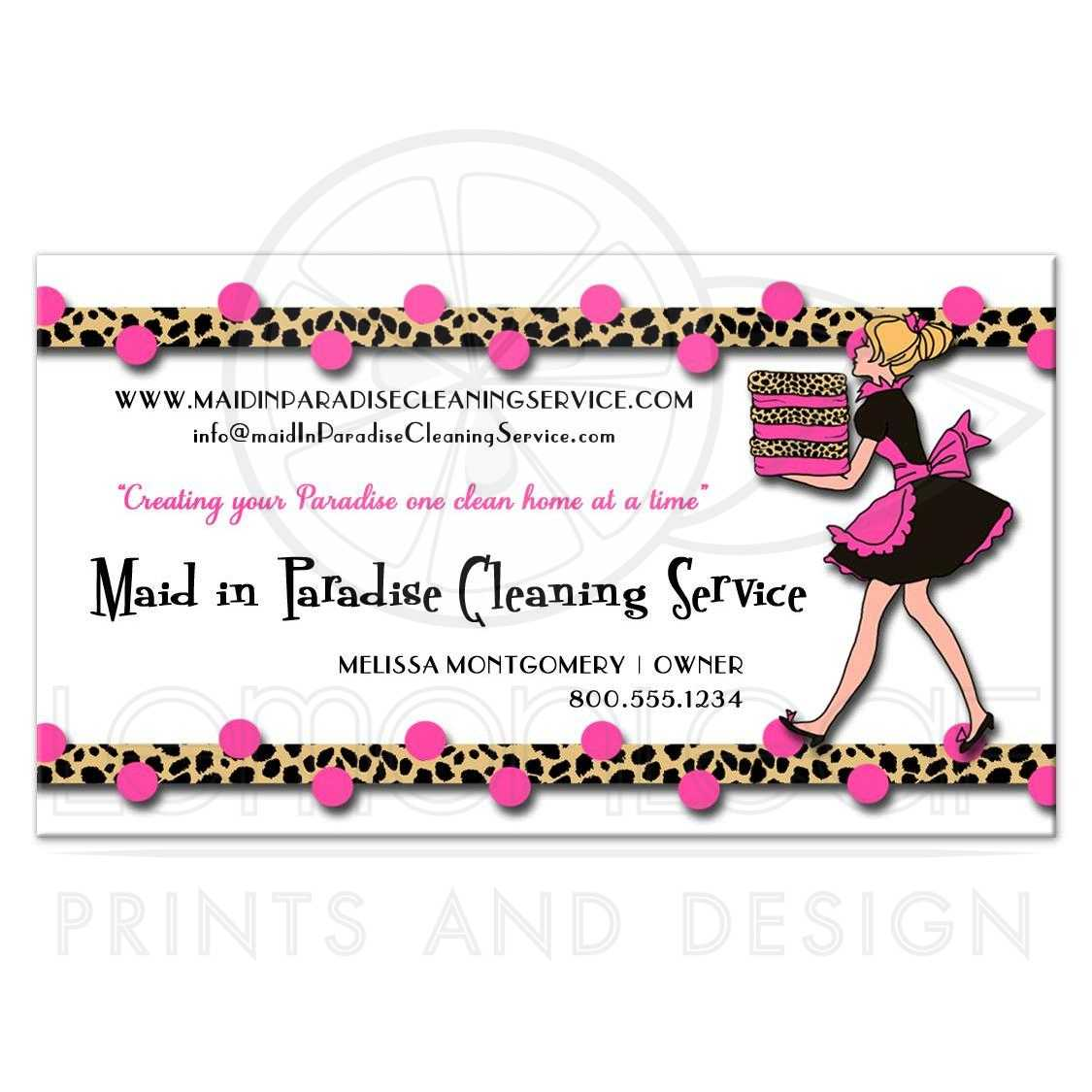 Polka Dots and Leopard Print Cleaning Service Business Card