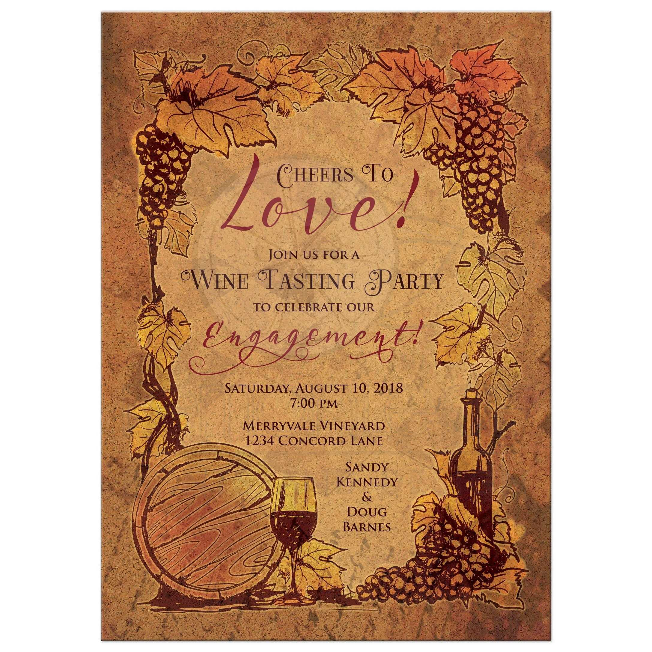 Rustic Vineyard Engagement Party Invitation | Wine Tasting