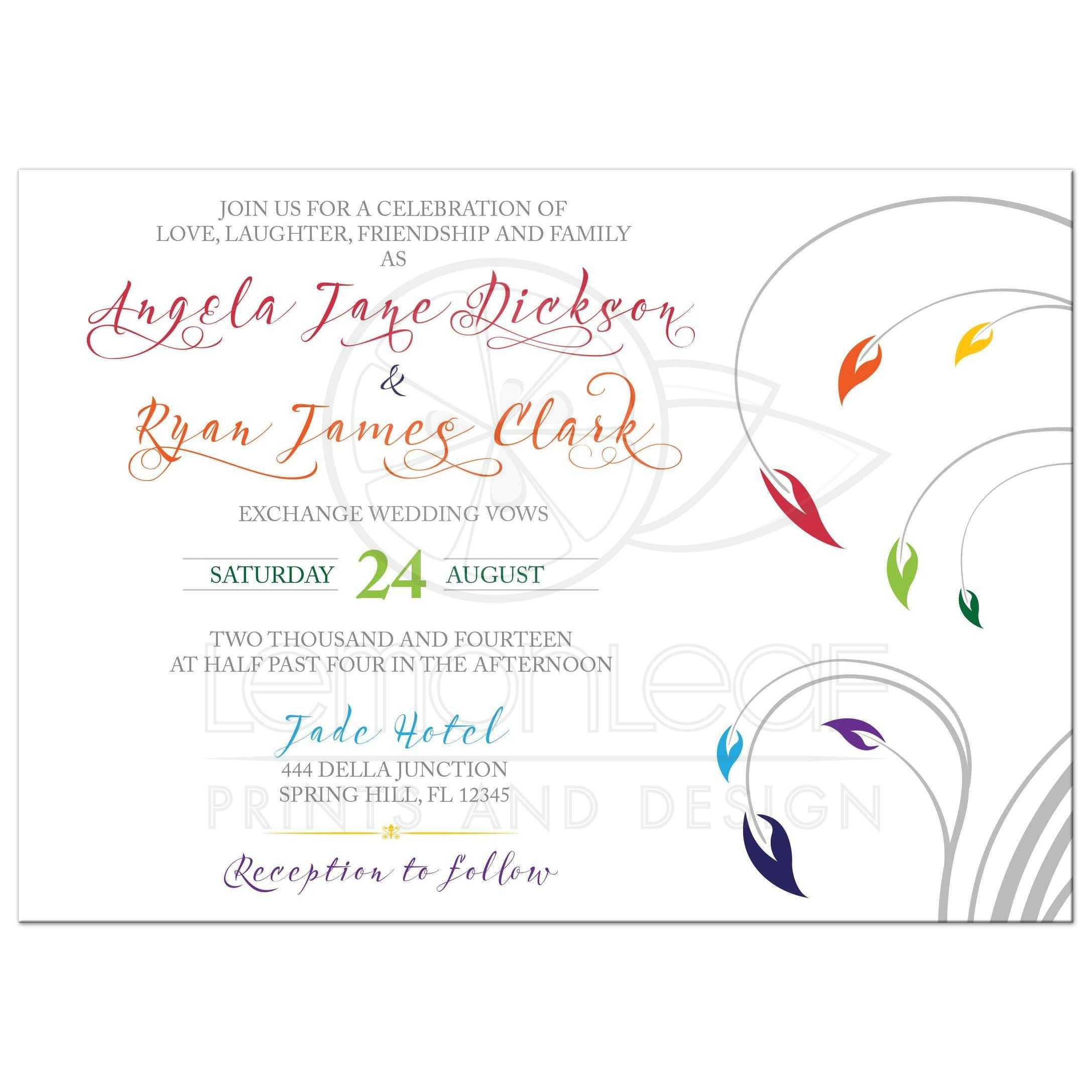 Rainbow Wedding Invitation Modern Floral Design