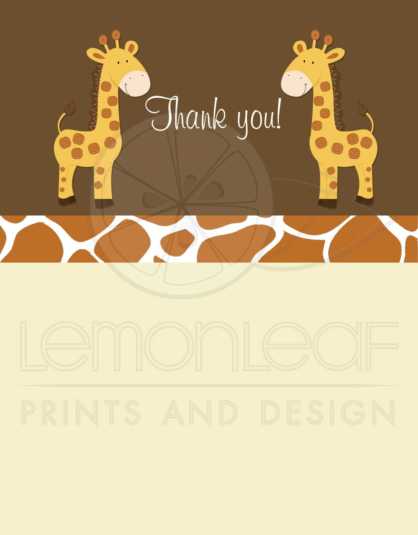 Personalised Thank You Cards • Twin Boys//Girls • Giraffes • FAST POST