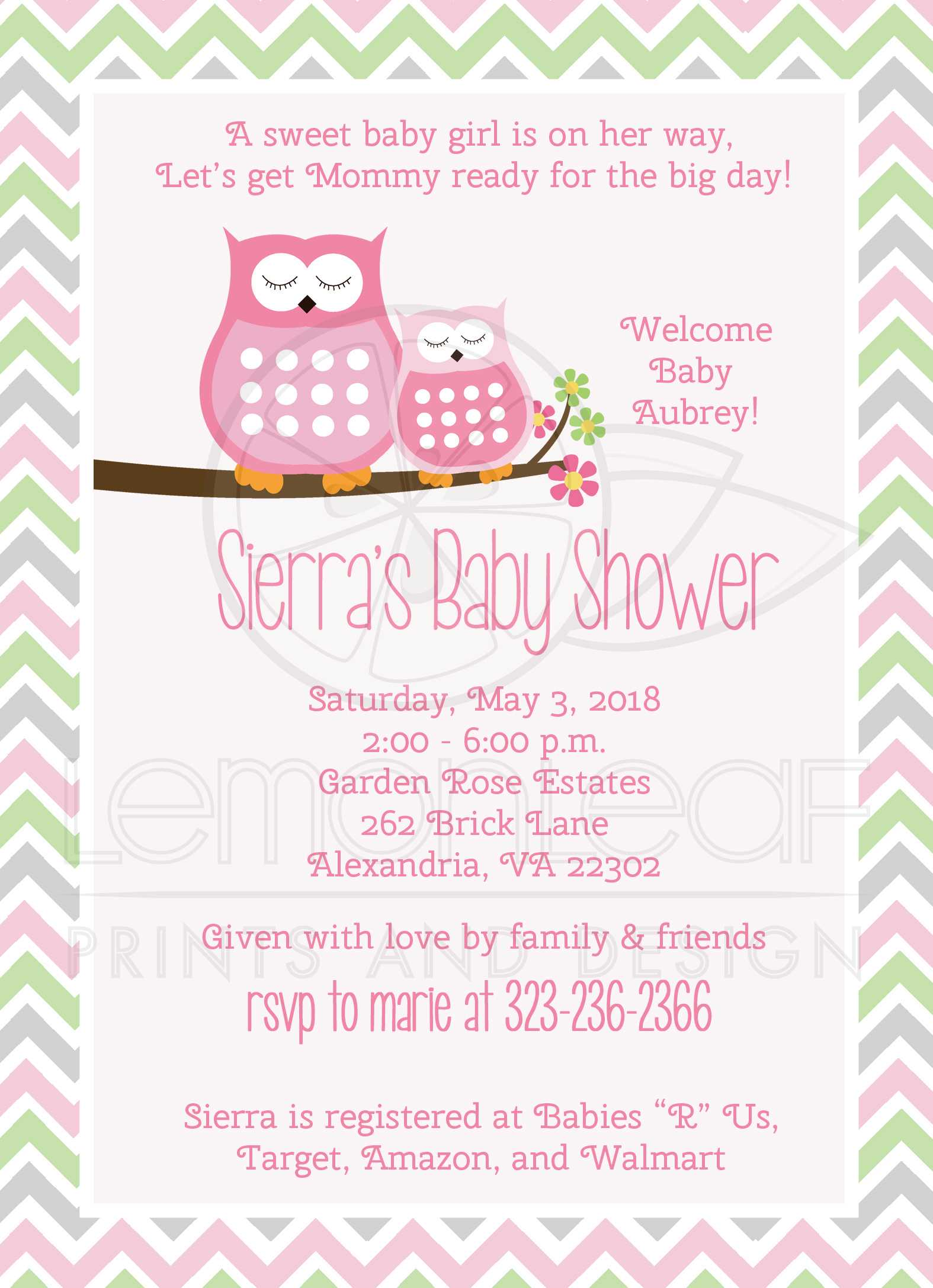 Pink Owls Chevron Stripe Girl Baby Shower Invitations