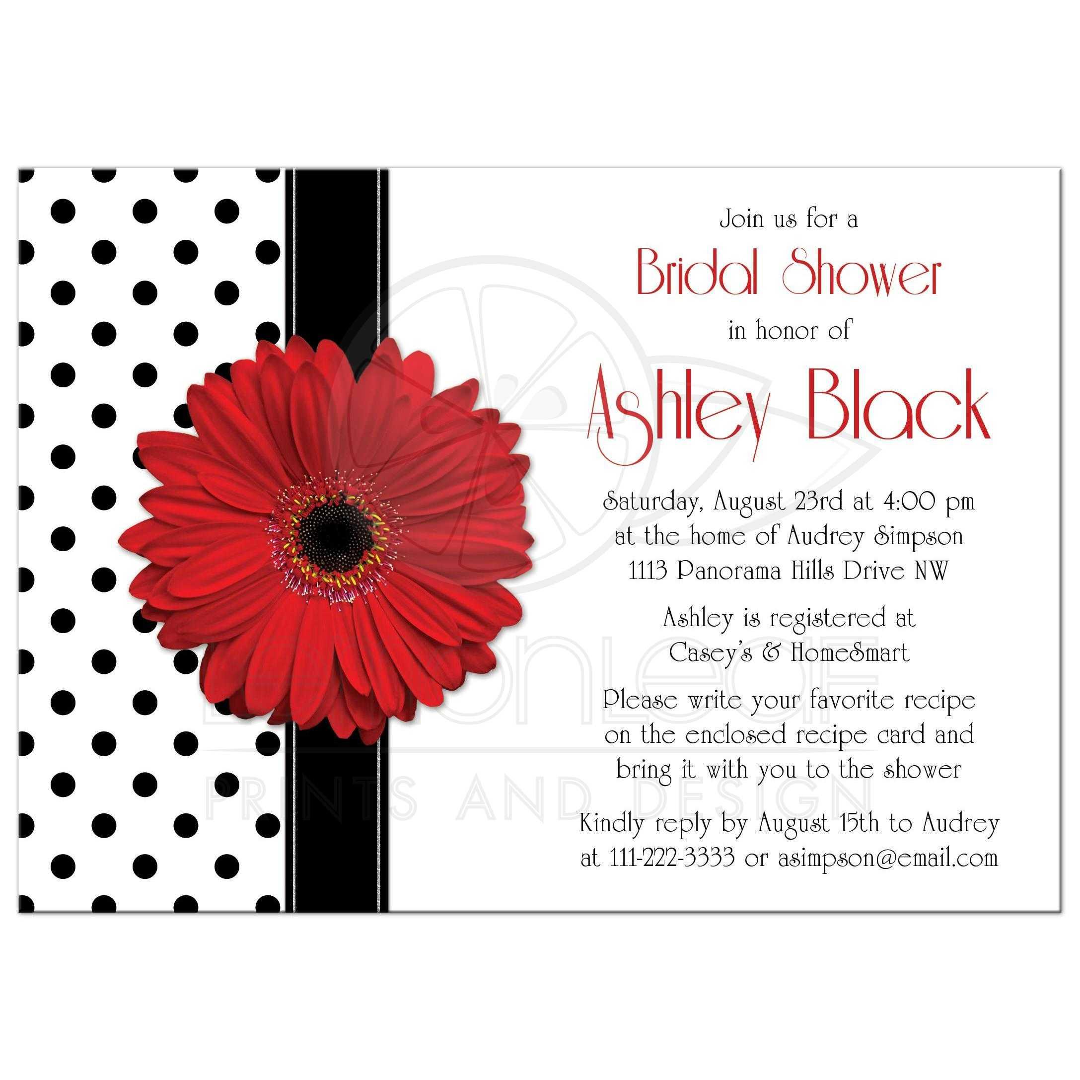 Bridal Shower Invitation Red Gerbera Daisy Polka Dot