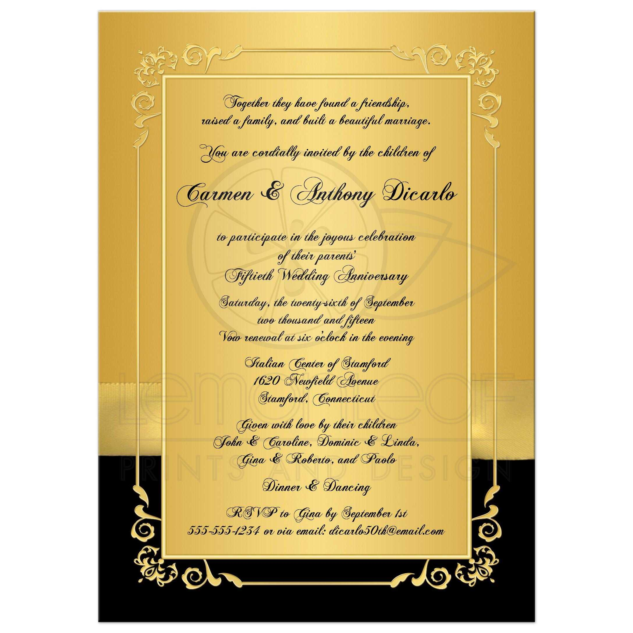 50th Wedding Anniversary Invitation Black and Gold Floral