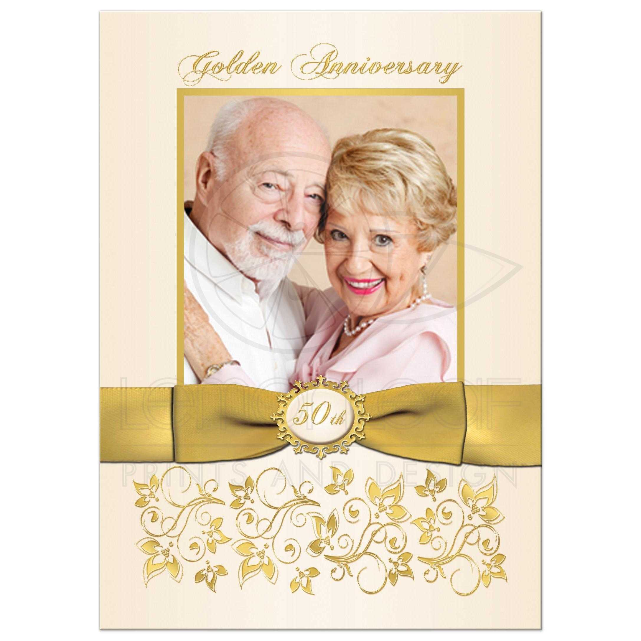 50th Wedding Anniversary Invitation Ivory and Gold Floral