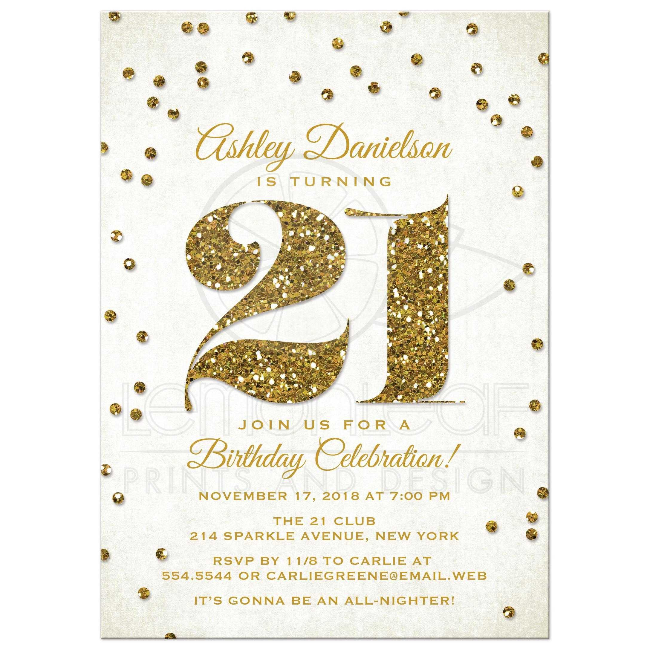 Gold Glitter Look 21st Birthday Party Invitation Front