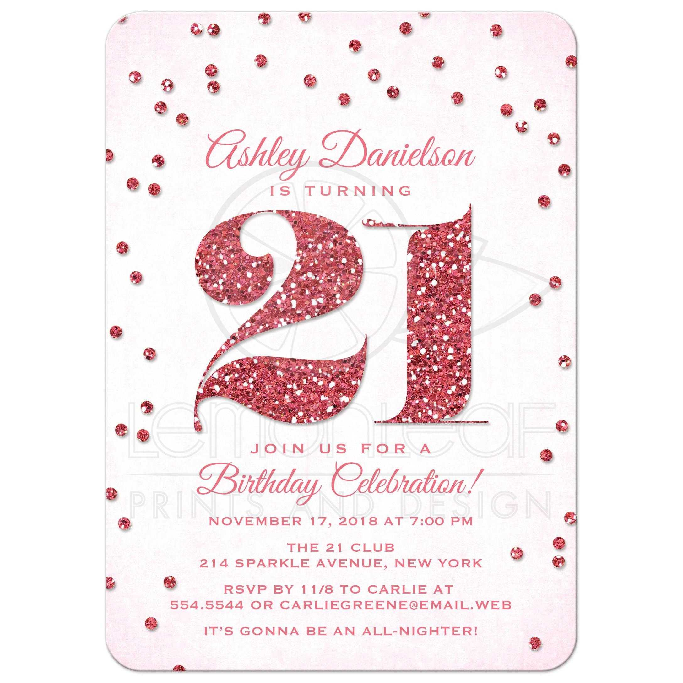 21st Birthday Party Invitations Pink Glitter Look Confetti – 21st Party Invitation