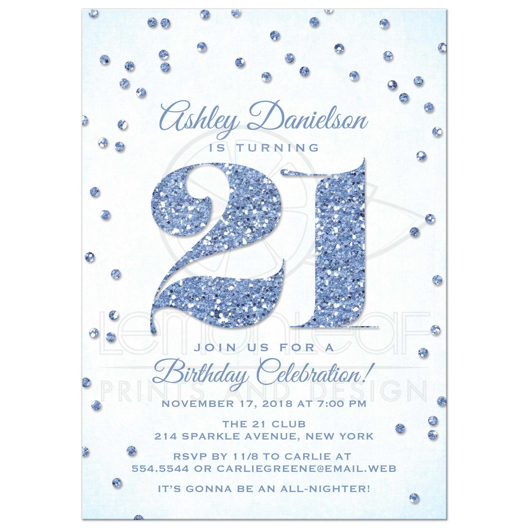 21st birthday party invitations blue glitter look confetti blue glitter look confetti 21st birthday party invitation front filmwisefo