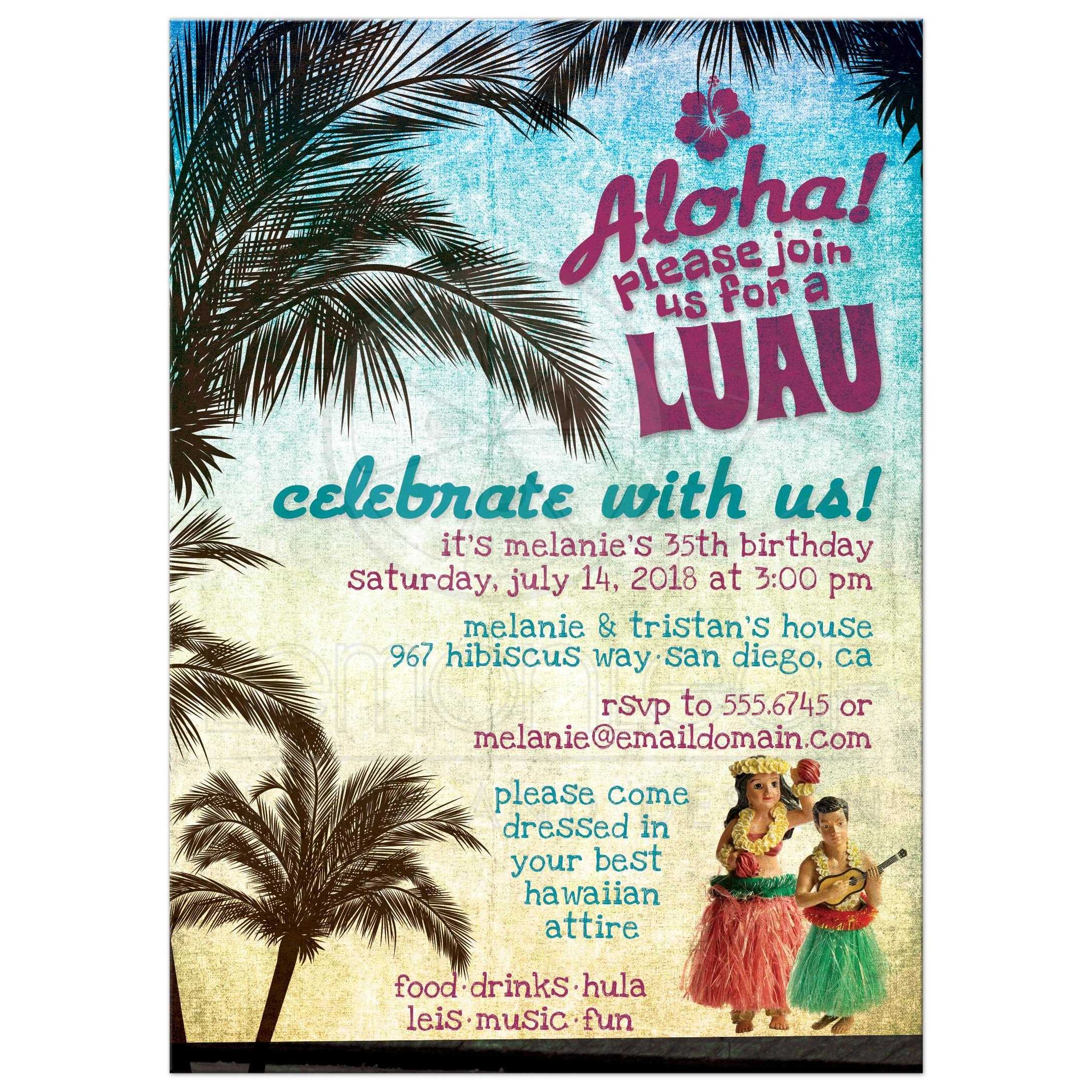 luau invitations  retro hawaiian beach party, invitation samples