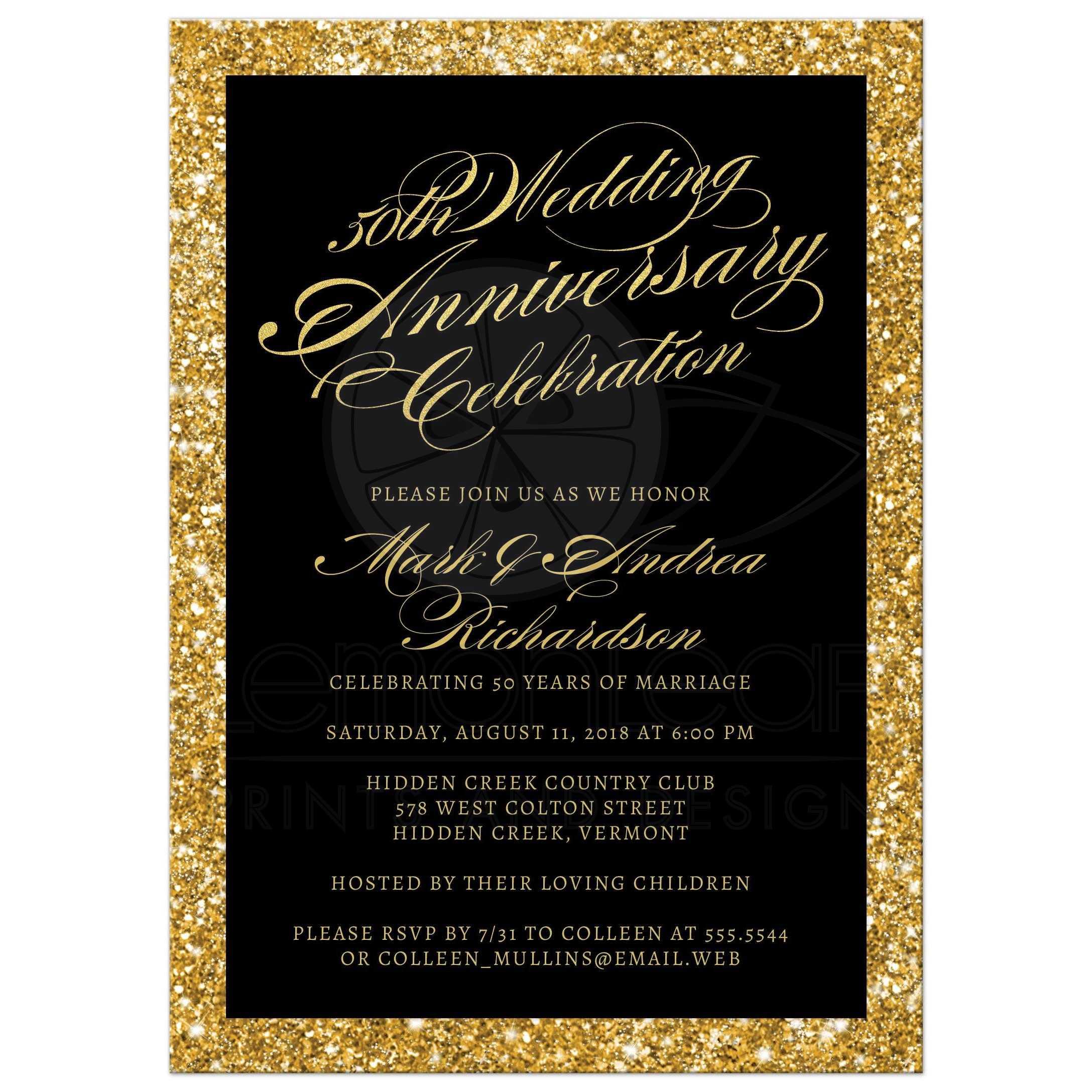 Gold Glitter Look 50th Wedding Anniversary Invitations Front ...