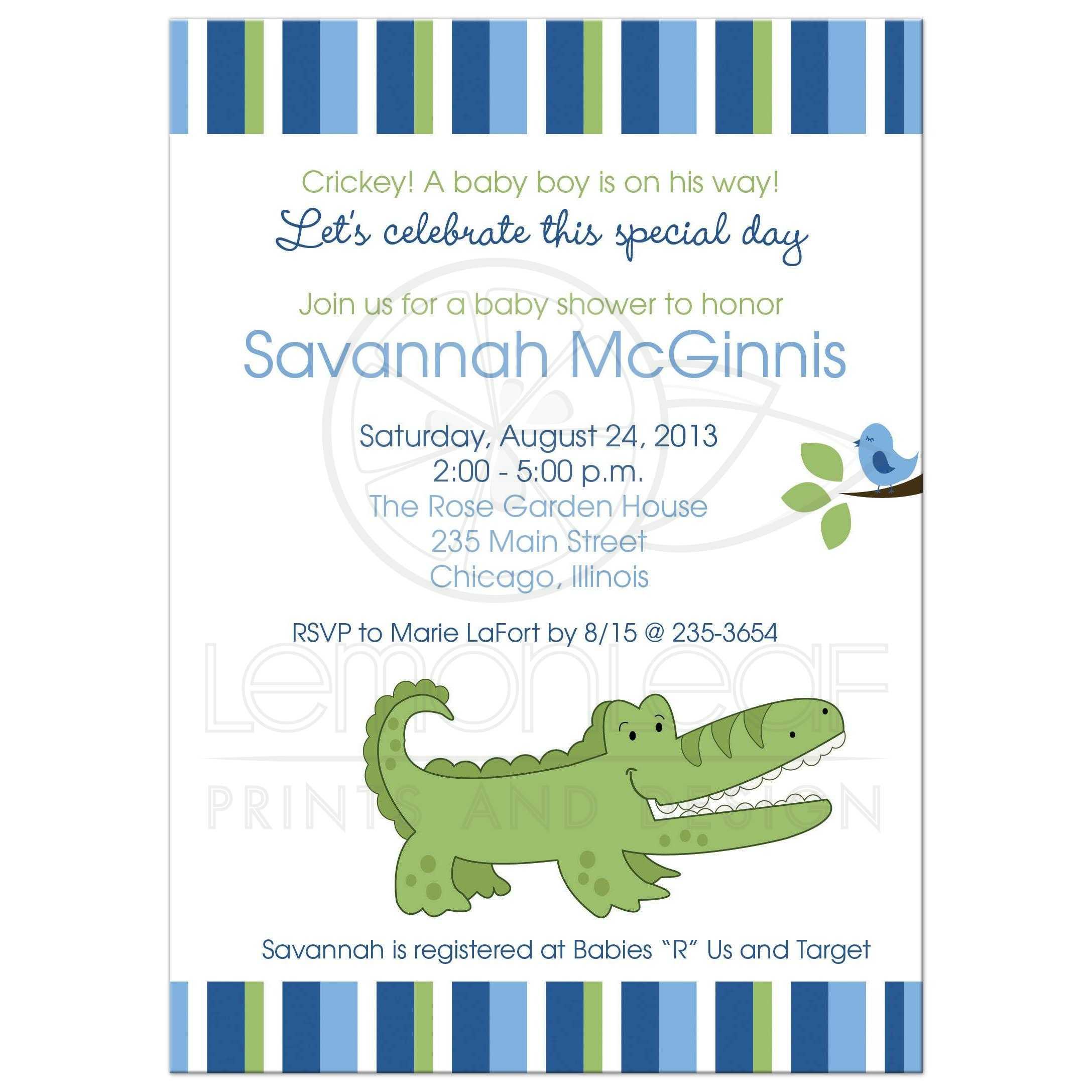 Alligator Blue and Green Striped Boy Baby Shower Invitation