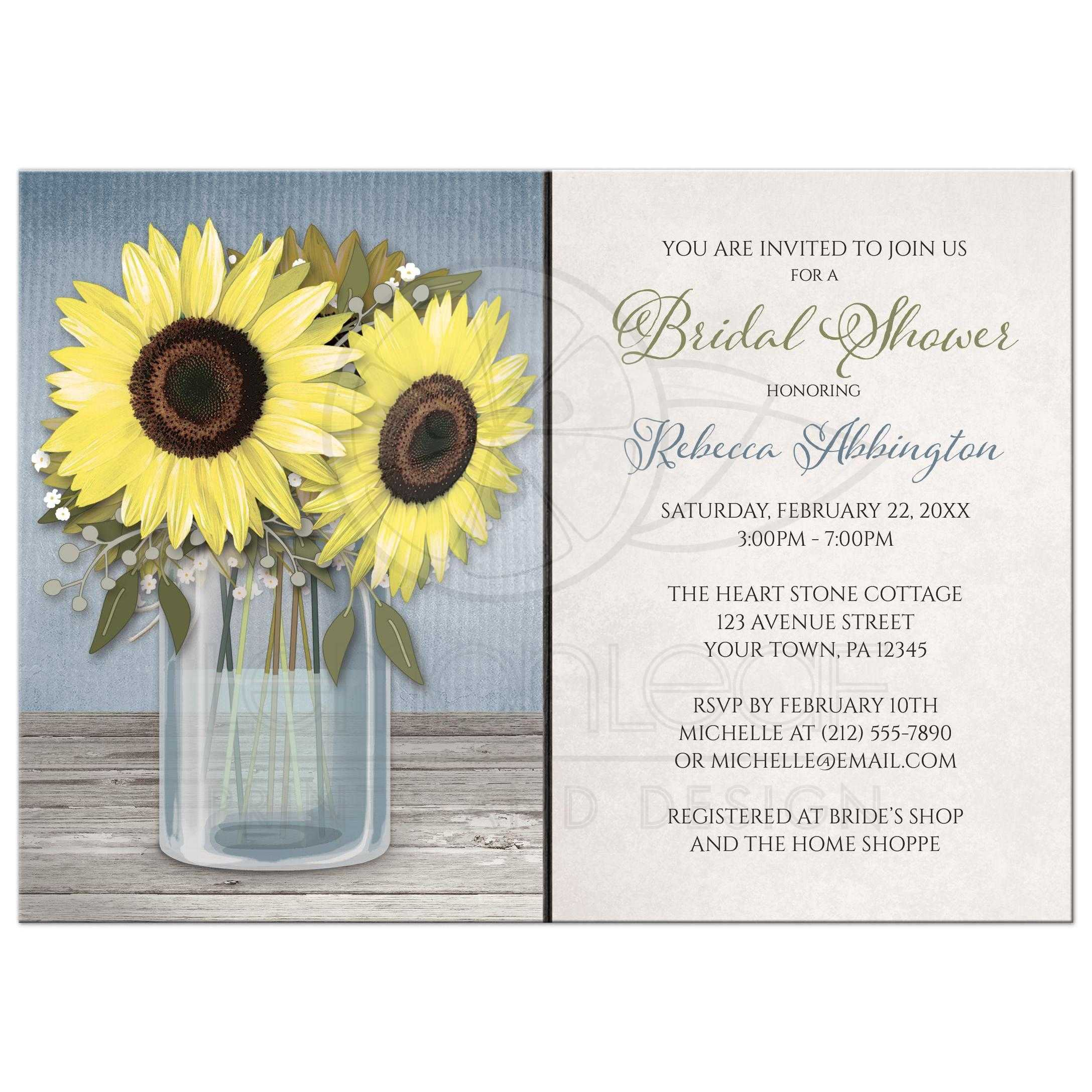 Bridal Shower Invitations - Rustic Sunflower Blue Mason Jar