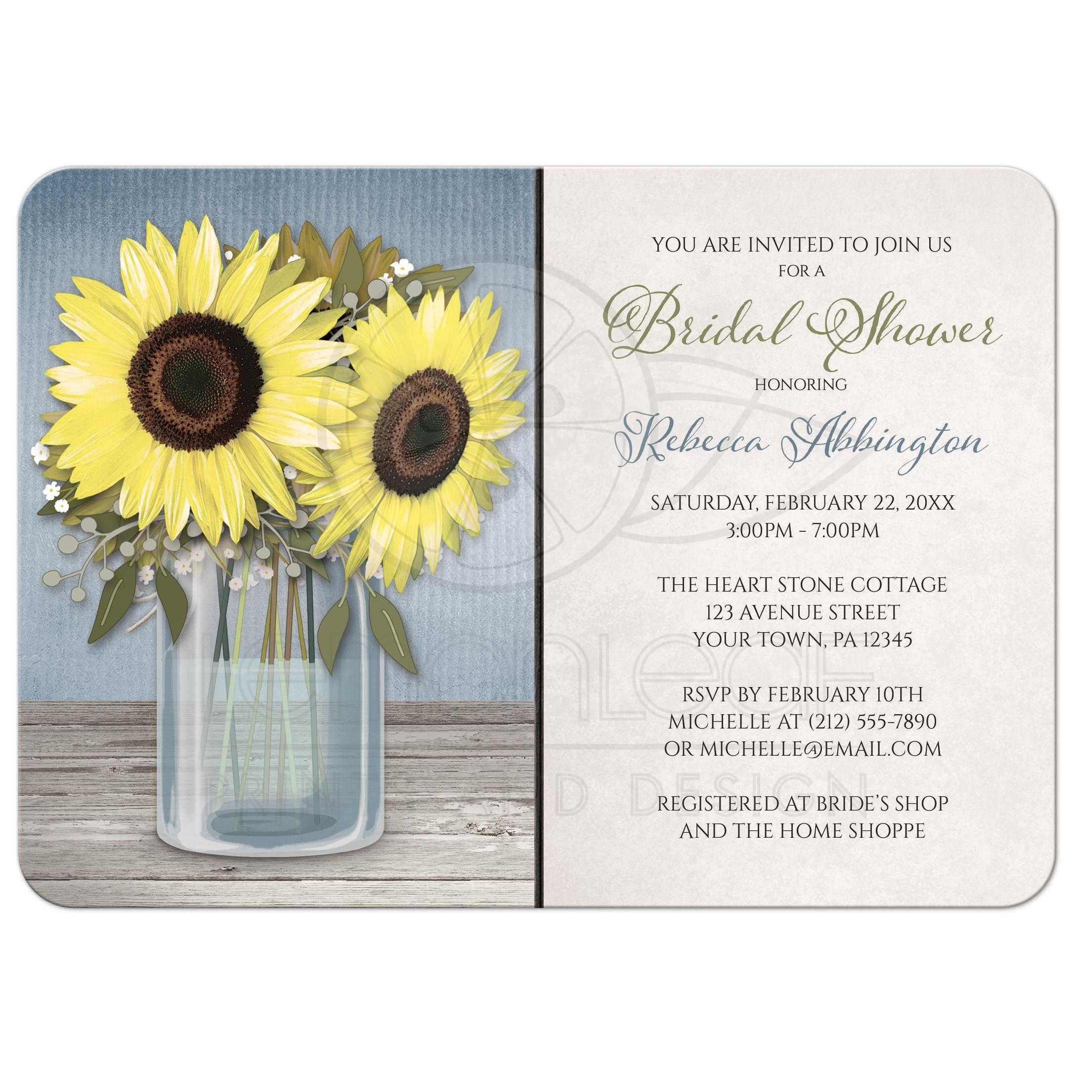 Bridal shower invitations rustic sunflower blue mason jar filmwisefo