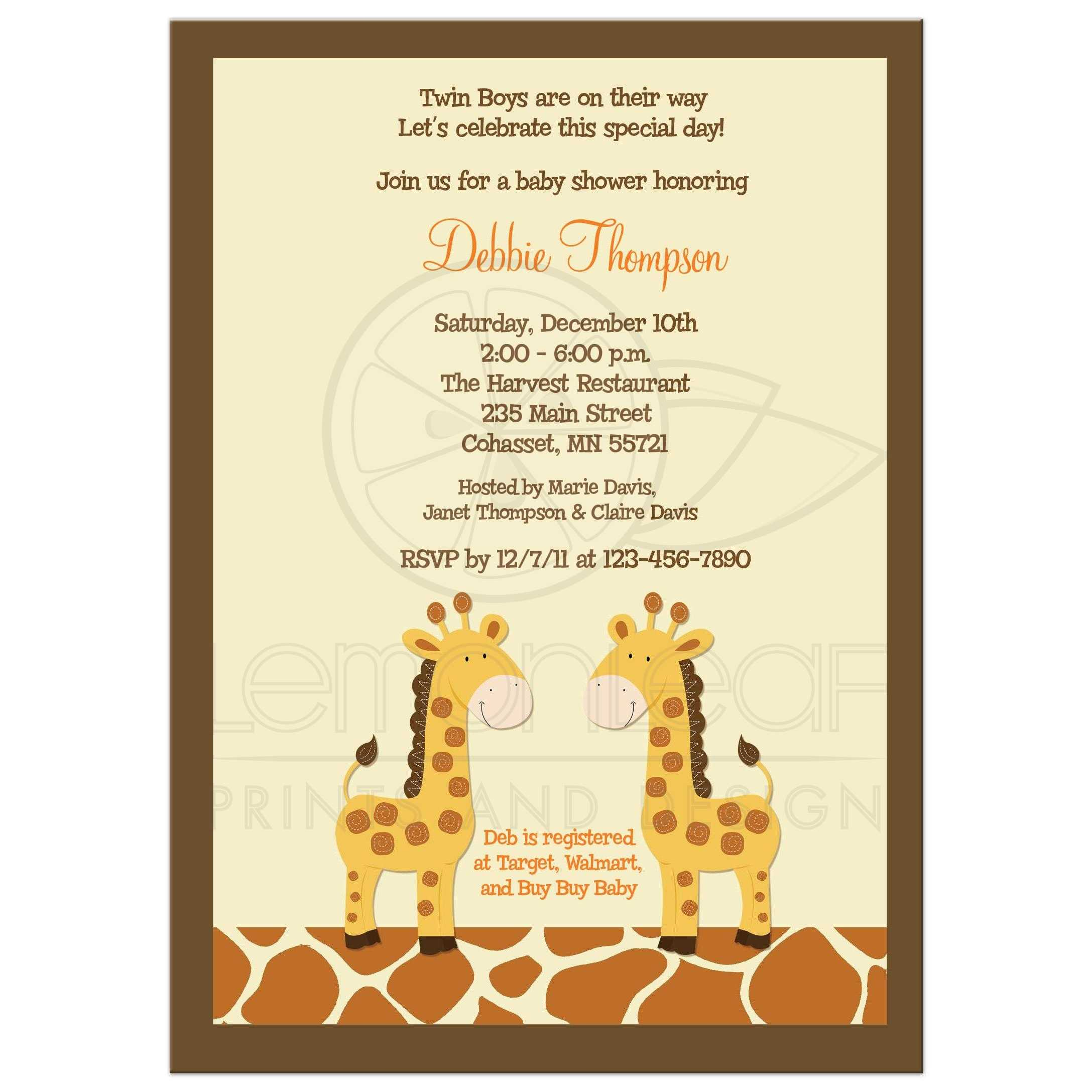Twins Giraffe Baby Shower Invitation Neutral Twin Boys Twin Girls