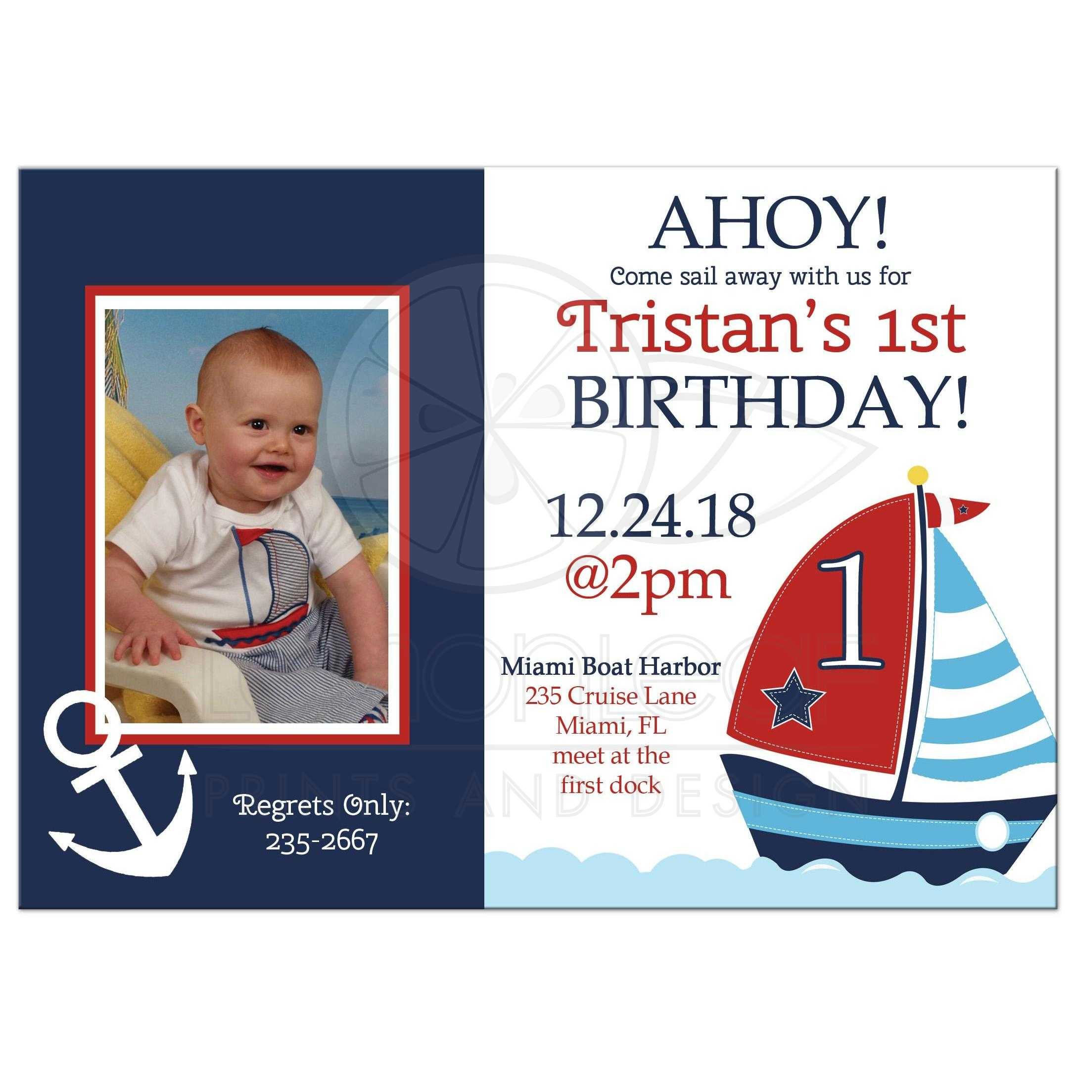 Ahoy Anchor and Sailboat Nautical Photo Birthday Invitation