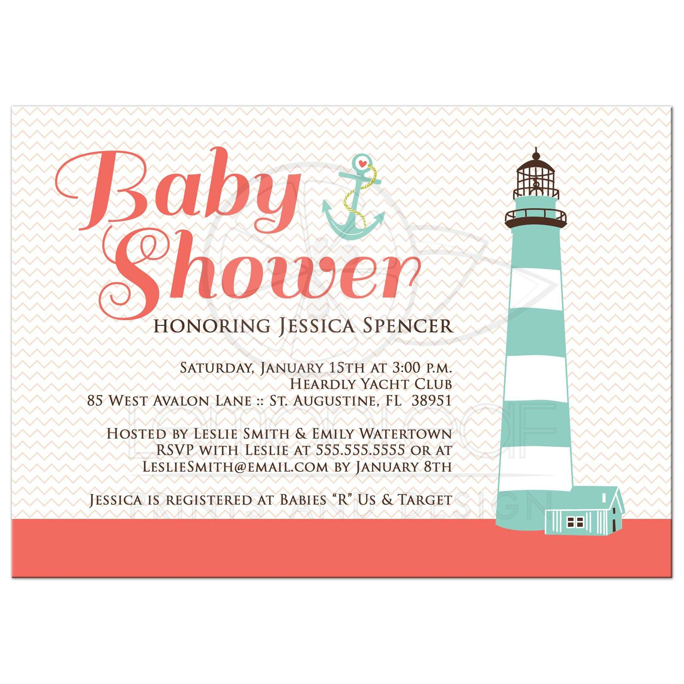 Baby Shower Invitation - Nautical Salmon Pink and Chevron