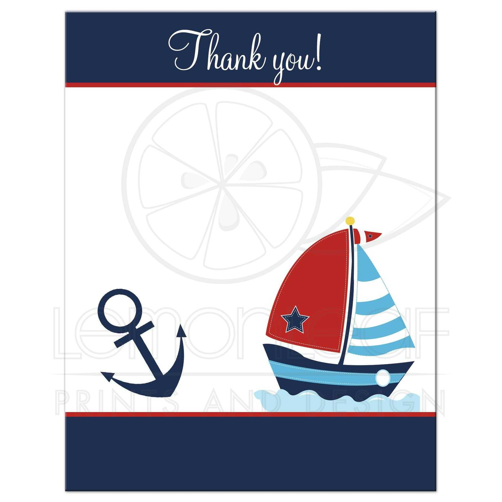 Anchor and Sailboat Nautical Navy and Red Flat Thank you card