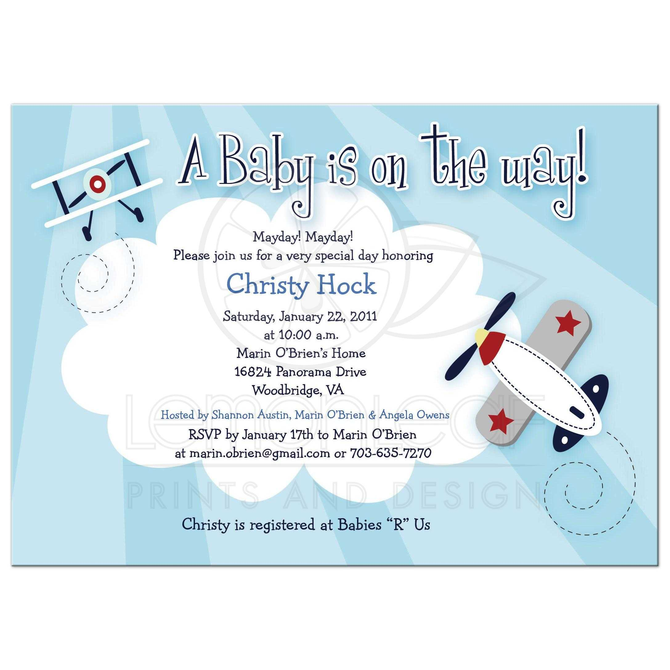 Little Aviator Boy Airplane Baby Shower Invitation