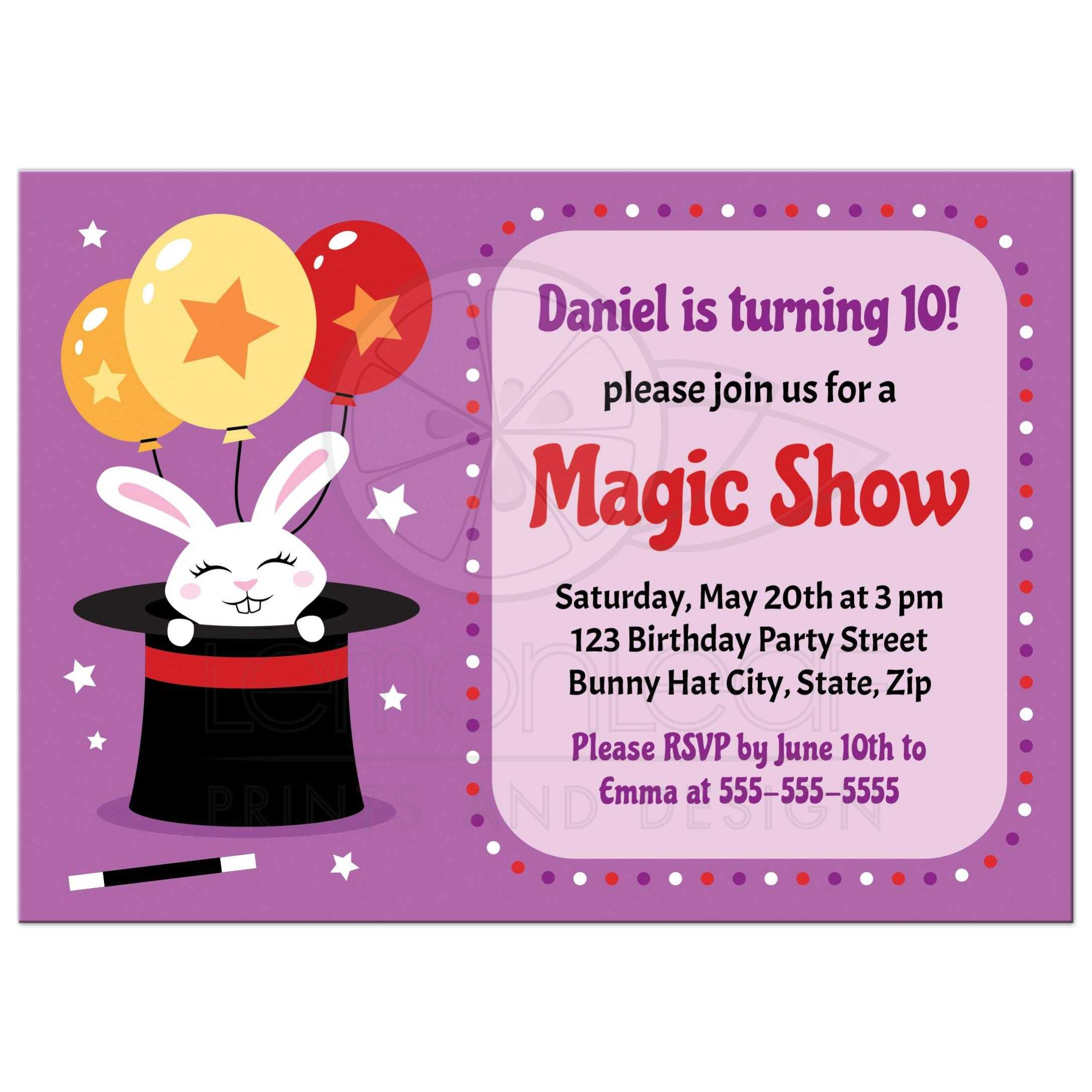 Rabbit in magician\'s hat, magic show birthday party invitations for kids