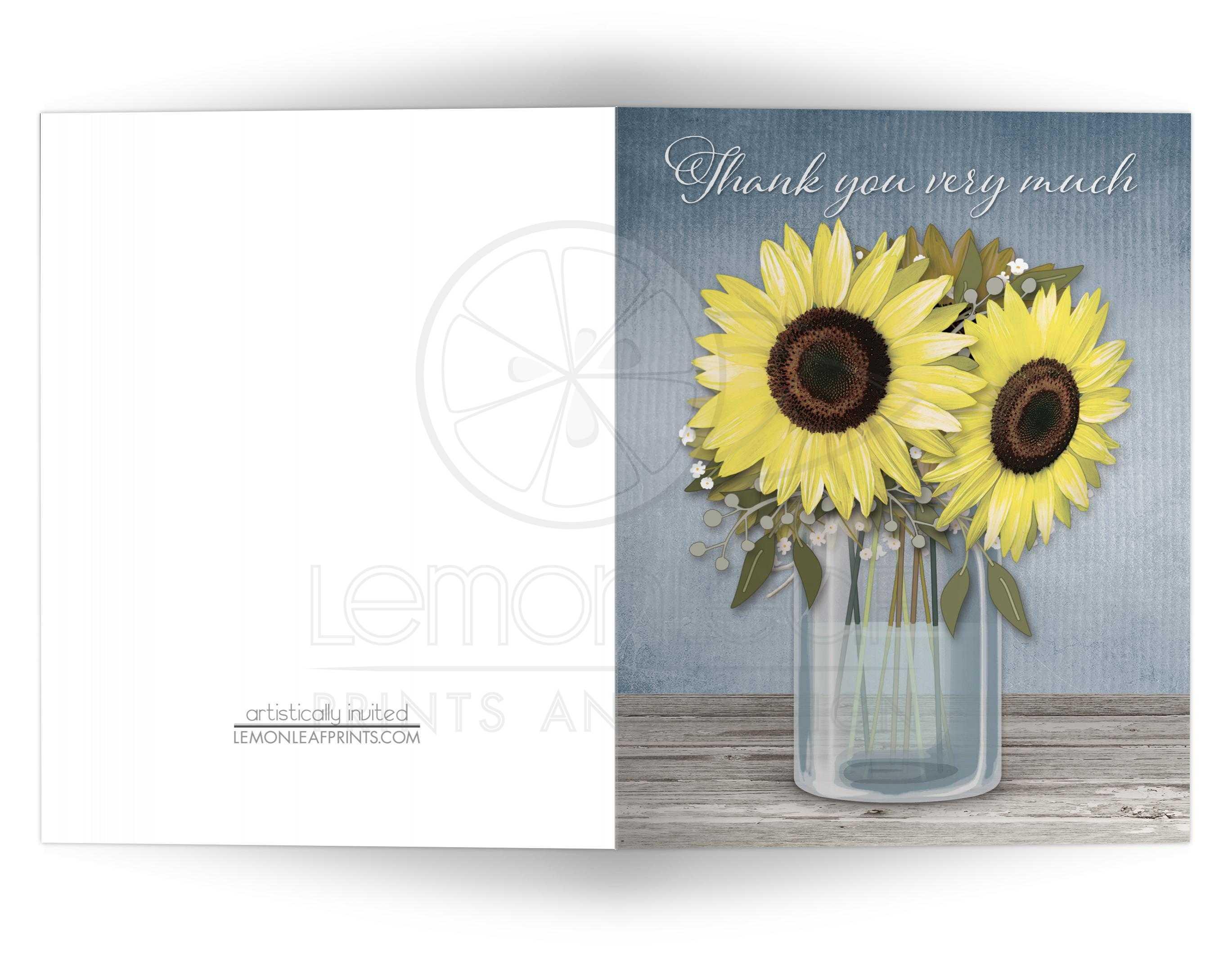 Thank You Cards - Rustic Sunflower Blue Mason Jar
