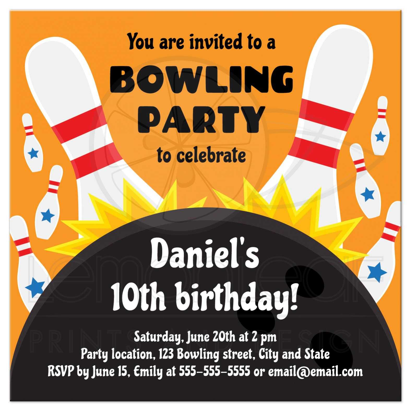 Bowling party invite for kids, ball smashing into pins, orange version
