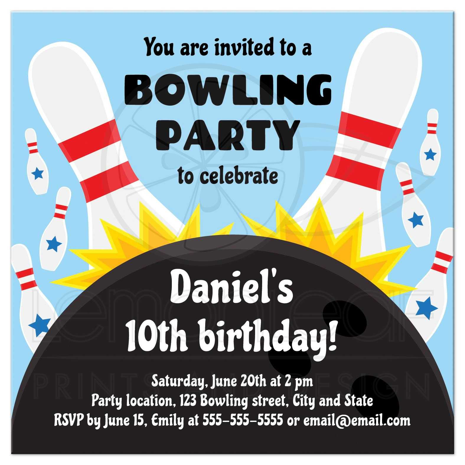 Bowling Invitation | Bowling Birthday Party Invitation For Kids With Bowling Ball