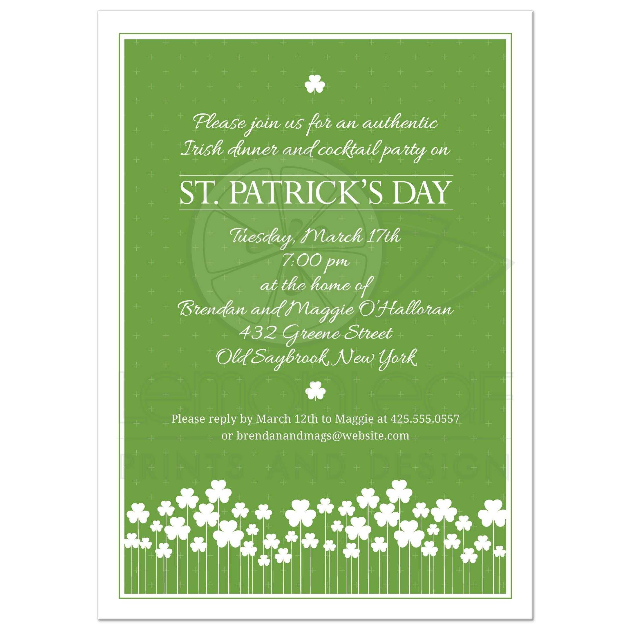 St Patricks Day Party Invitation - Shamrock Garden