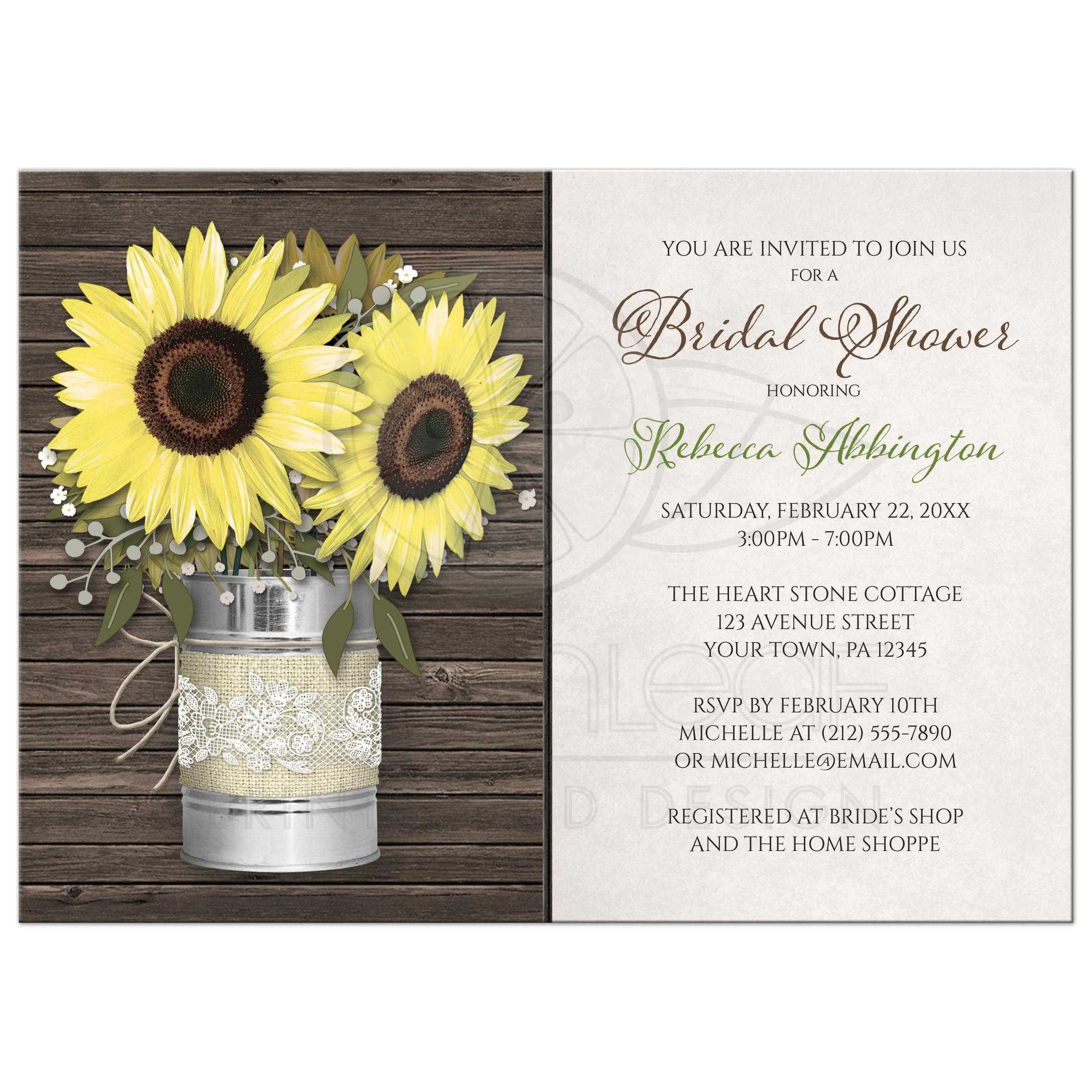 bridal shower invitations rustic burlap u0026 lace tin can sunflower