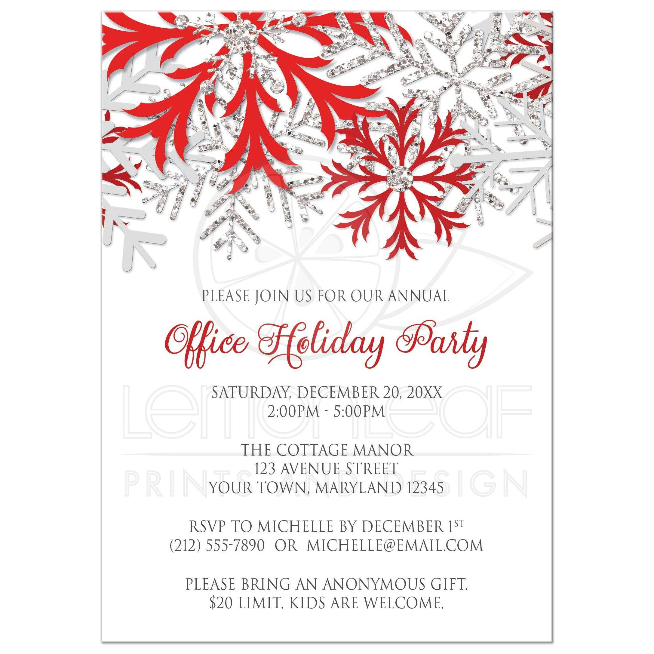 Party Invitations - Red Silver Snowflake Winter