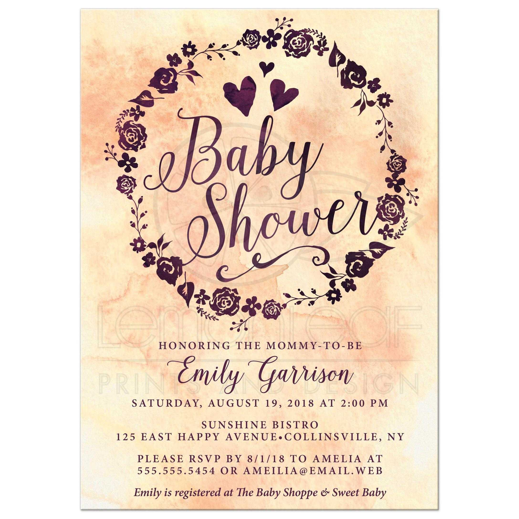 Baby Shower Invitations Watercolor Wreath