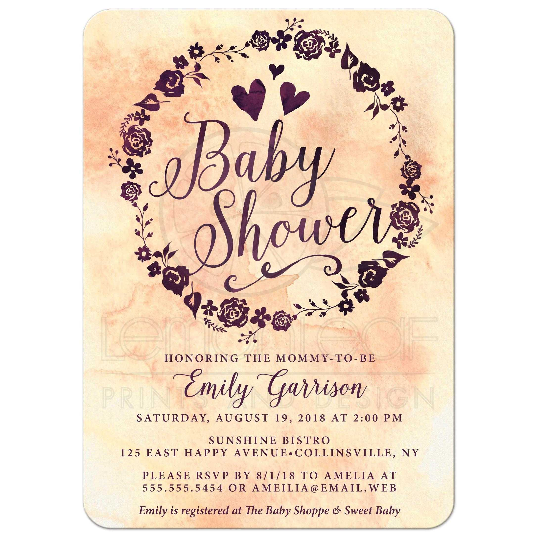 Watercolor Wreath Baby Shower Invitations Front Watercolor Wreath Baby  Shower Invitations Front ...