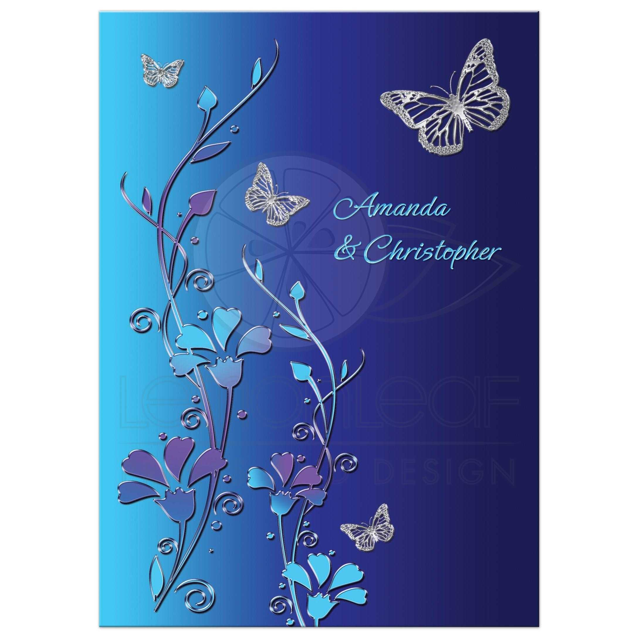 Wedding Invitation Royal Blue Turquoise Mauve Flowers Silver