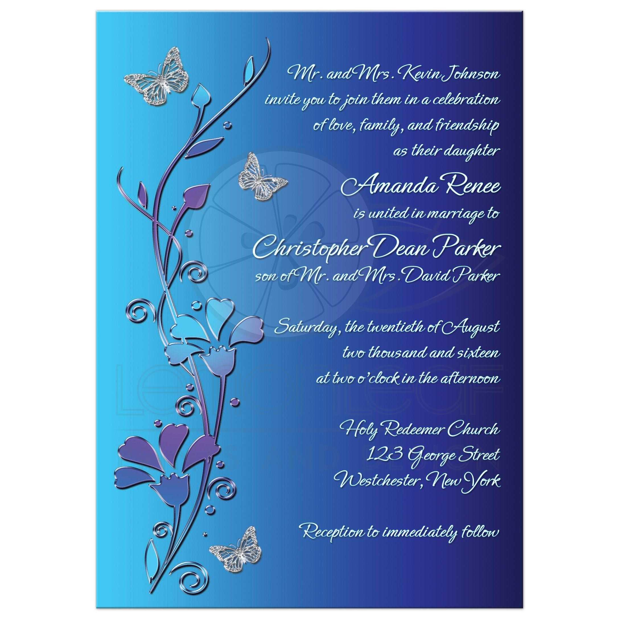 Invitation Wedding Invite With Silver Erflies On Royal Blue Background Teal And Purple Flowers