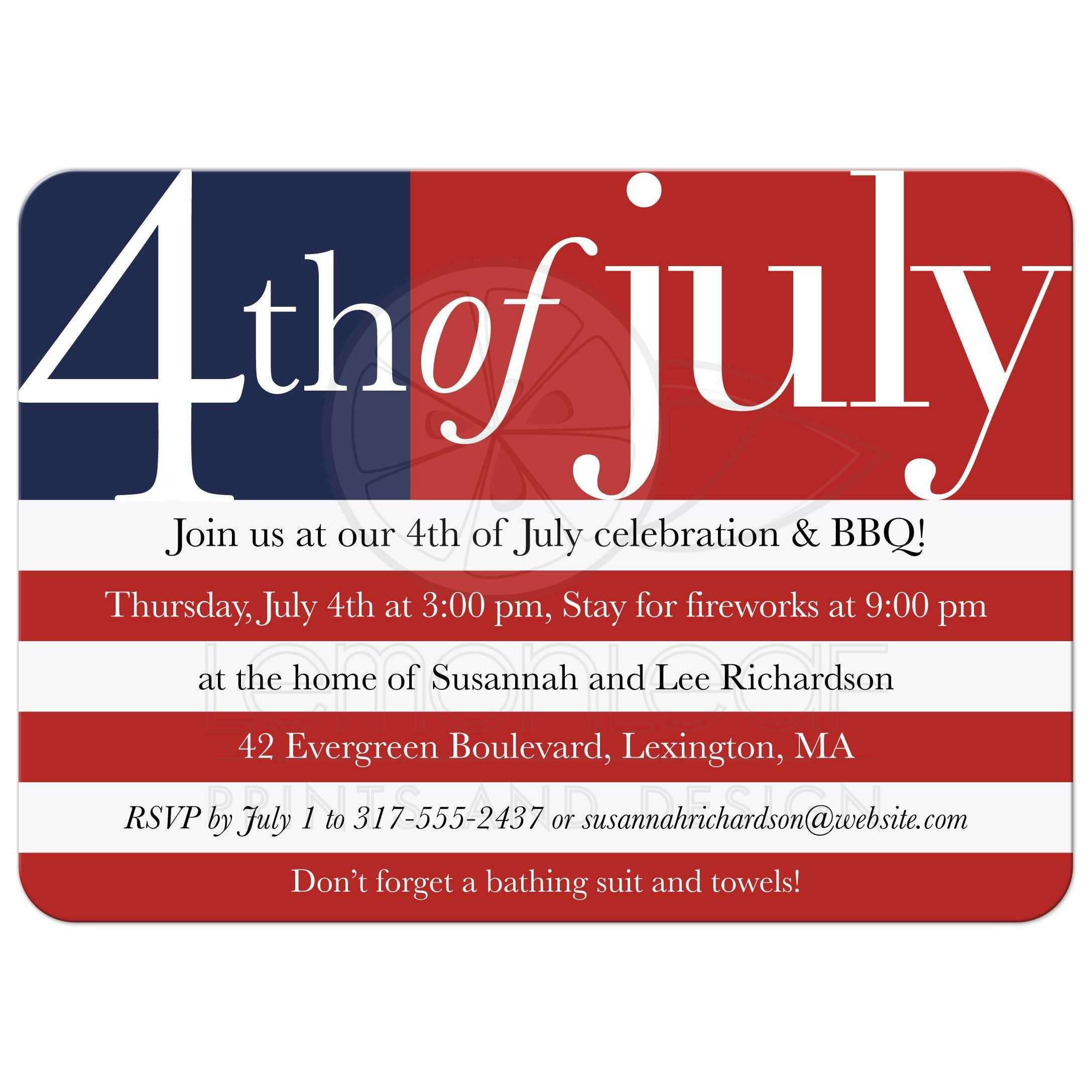 Independence Day Party Invitation US Flag 4th of July