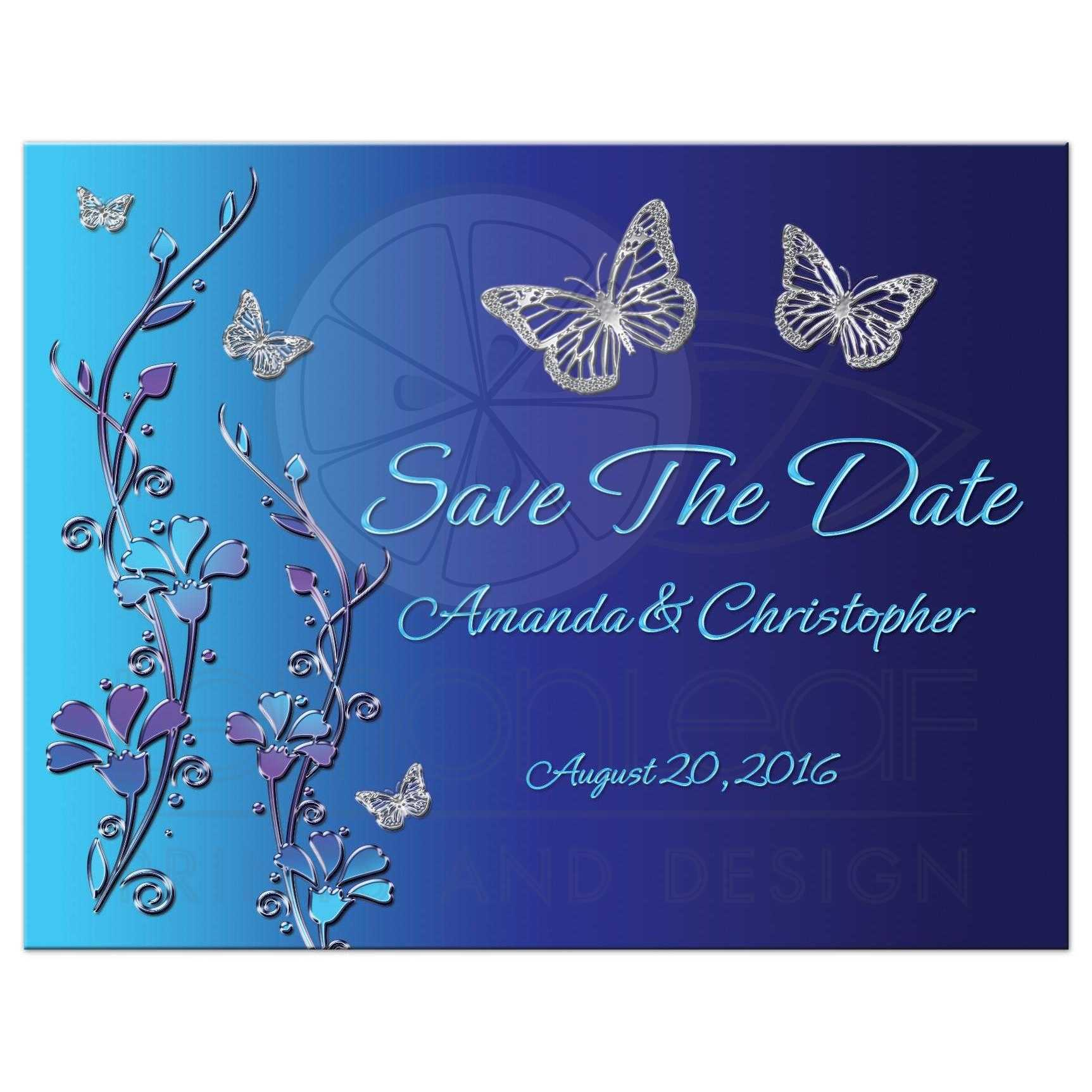 Royal Blue And Turquoise Fl Save The Date Post Card