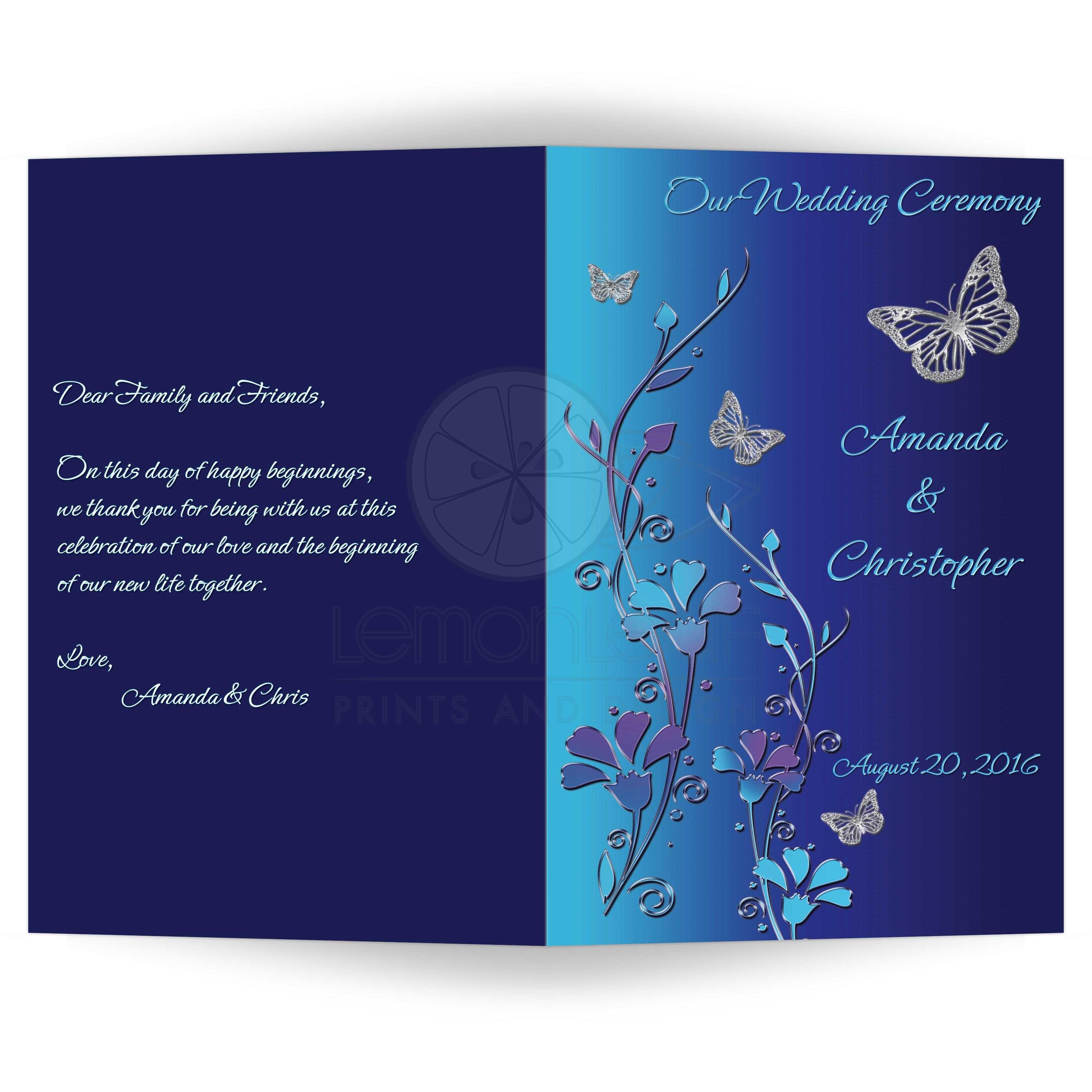 Wedding Program Royal Blue Turquoise Mauve Flowers