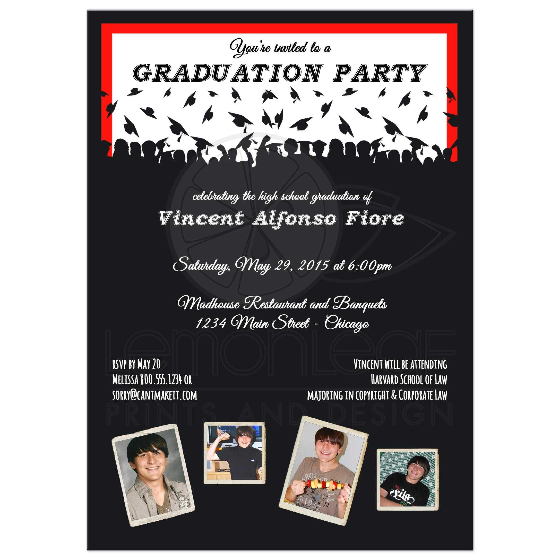 Cute Black And Red Silhouette Graduation Party Photo Invitation