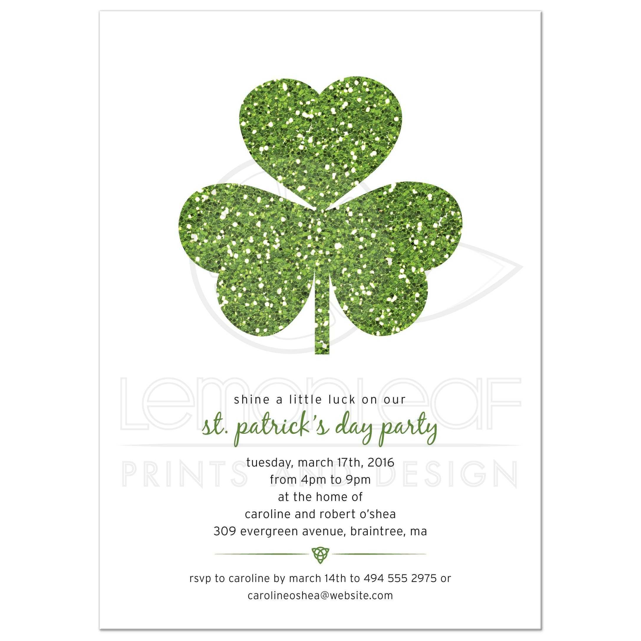 St Patricks Day Party Invitation - Green Faux Glitter Shamrock
