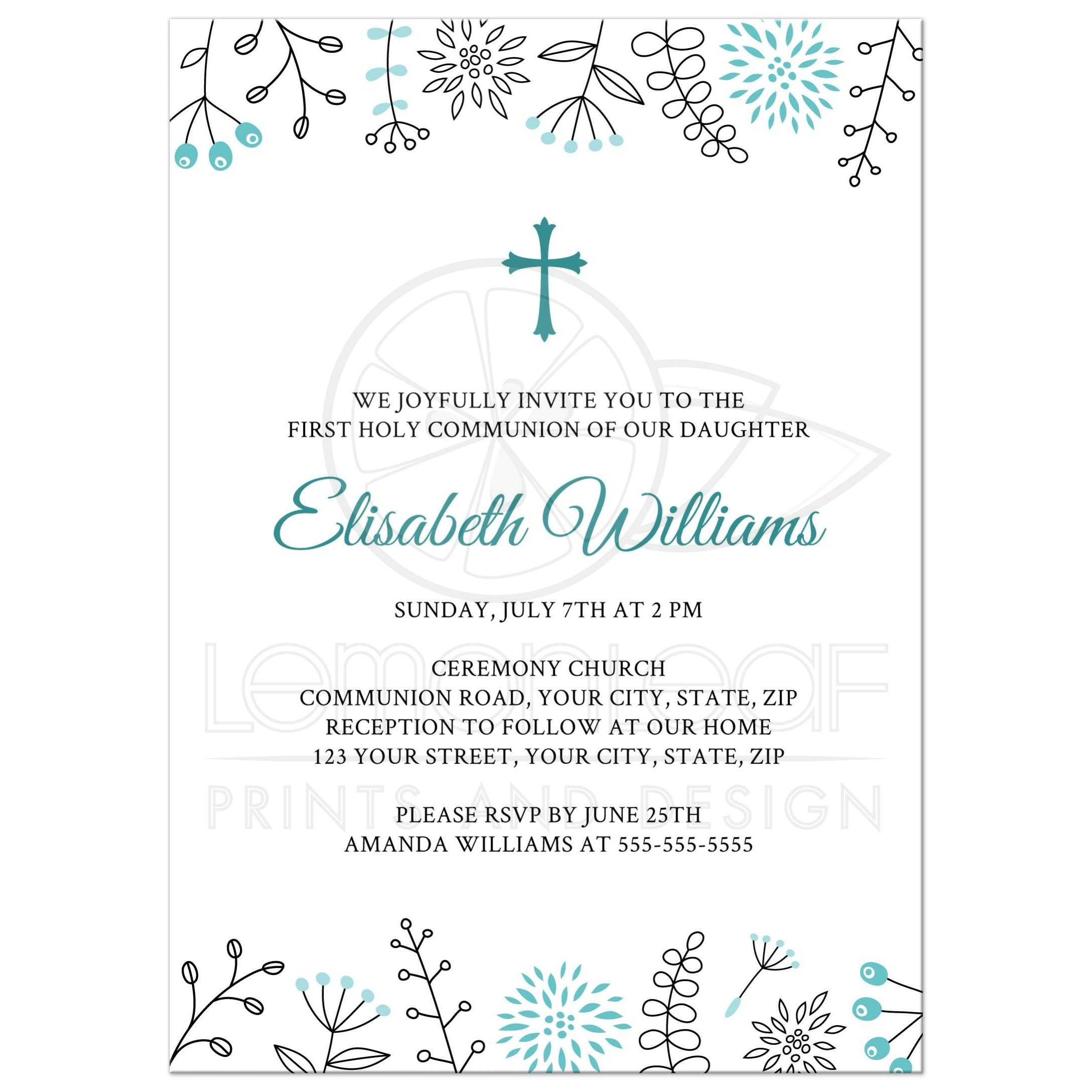 First Holy Communion/Confirmation invitation with blue flower border
