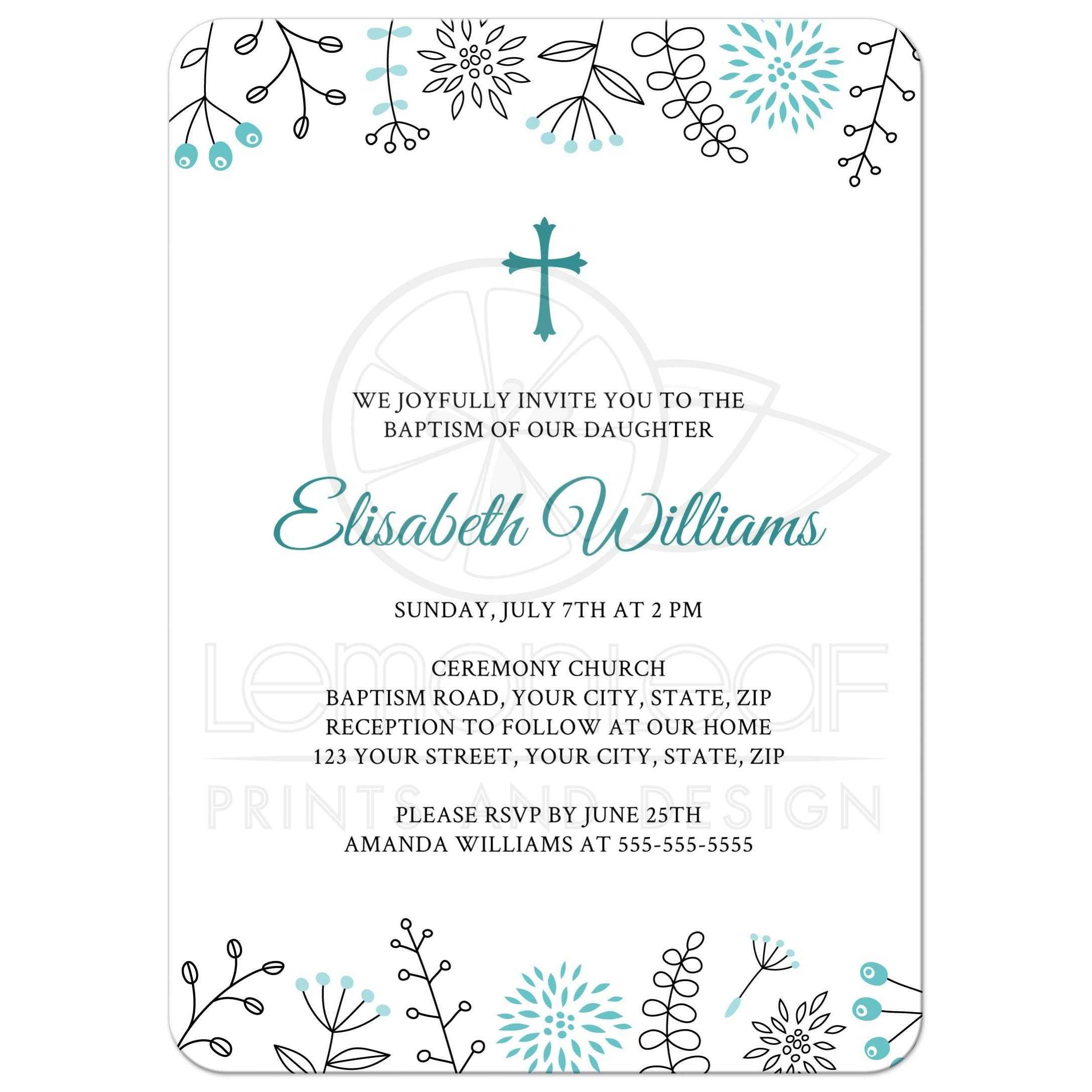 Baptism/christening invitation with blue doodle flower ... Christening Background For Baby Girl Plain