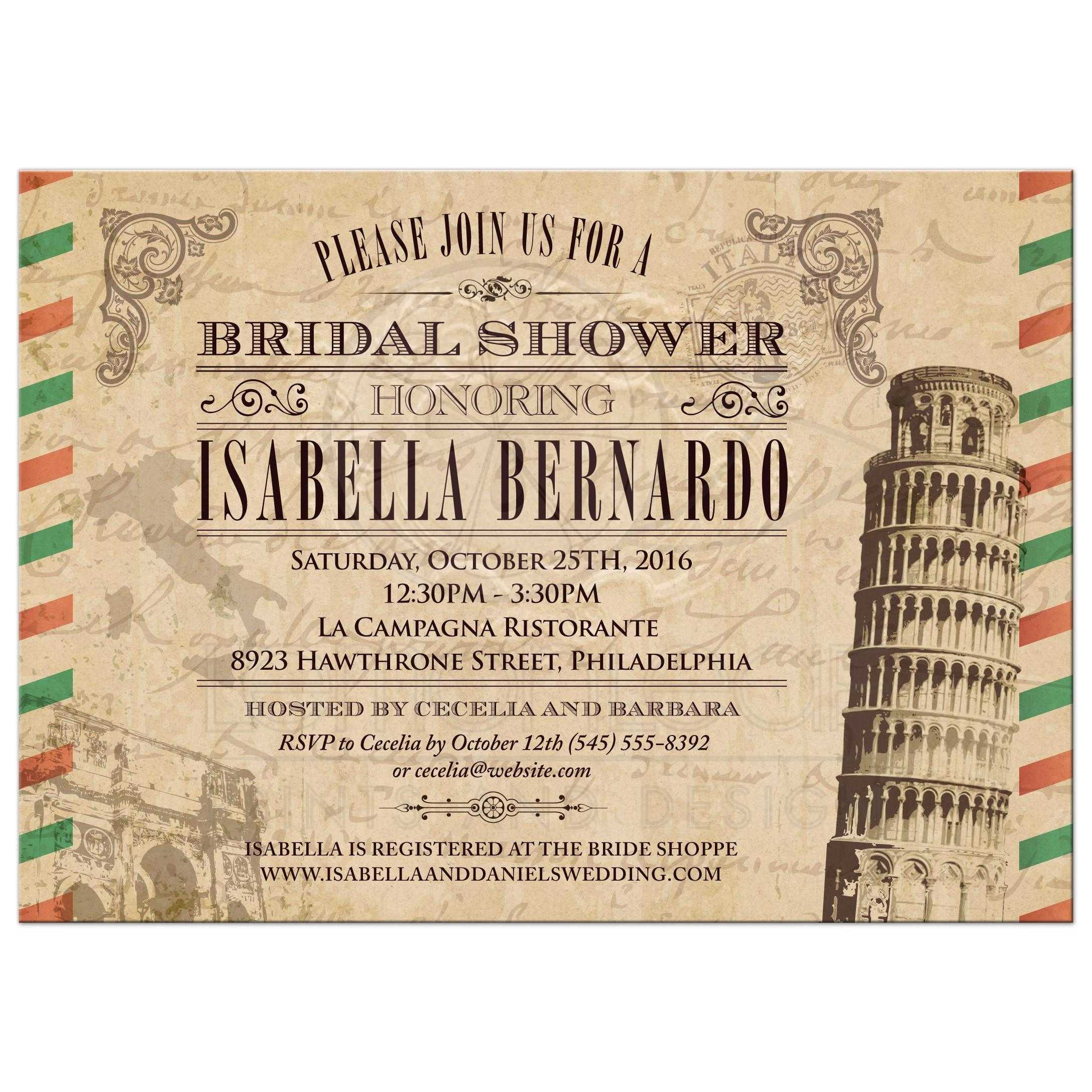 bridal wedding shower invitation vintage italian airmail