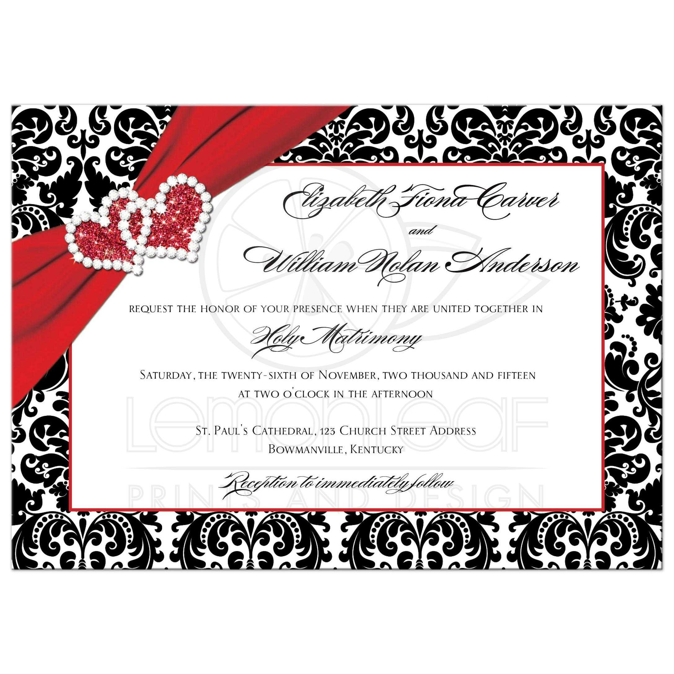 Wedding Invitation   Black, Red, White Damask   Joined Hearts 2