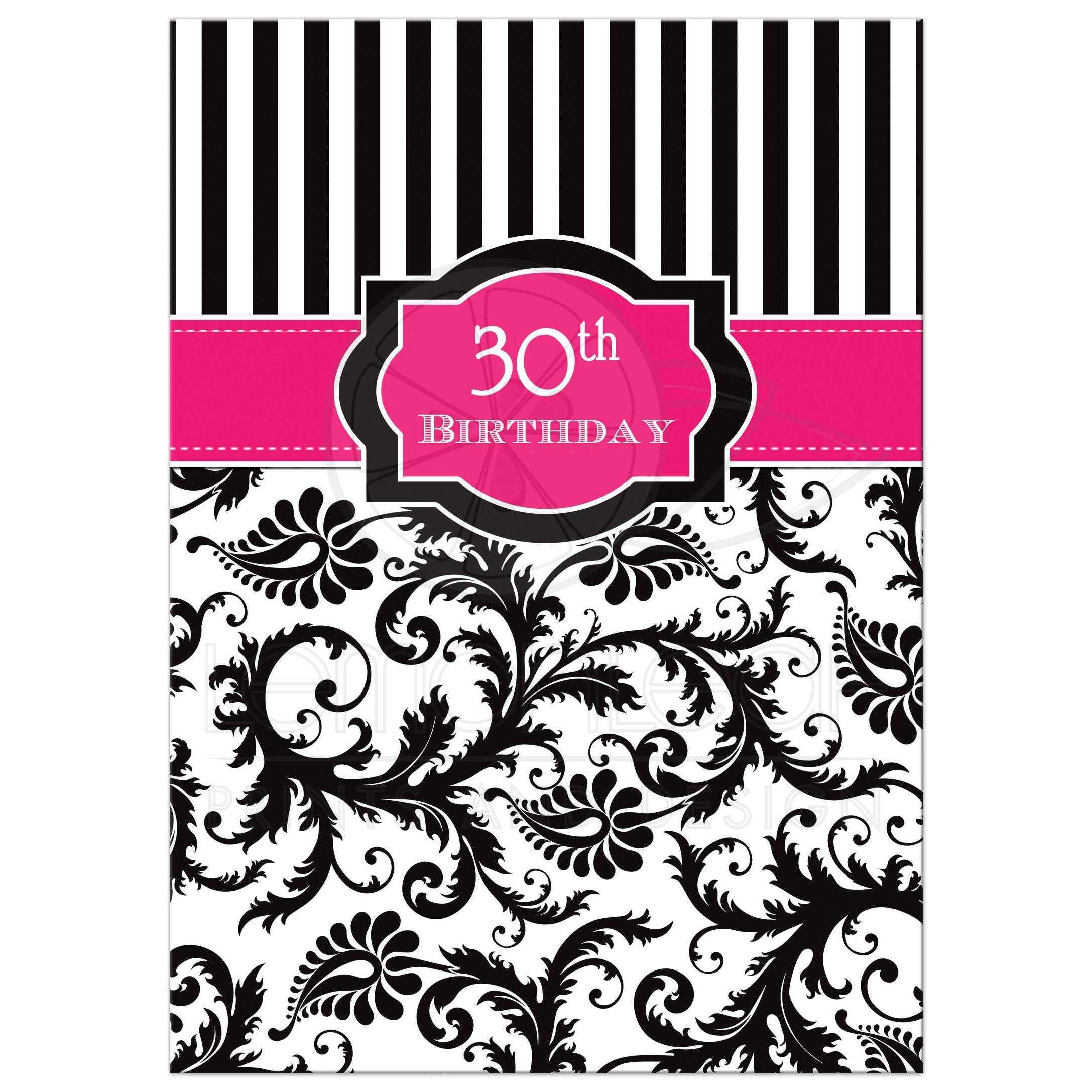 30th Birthday Party Invitation In Pink Black And White Stripes With Damask