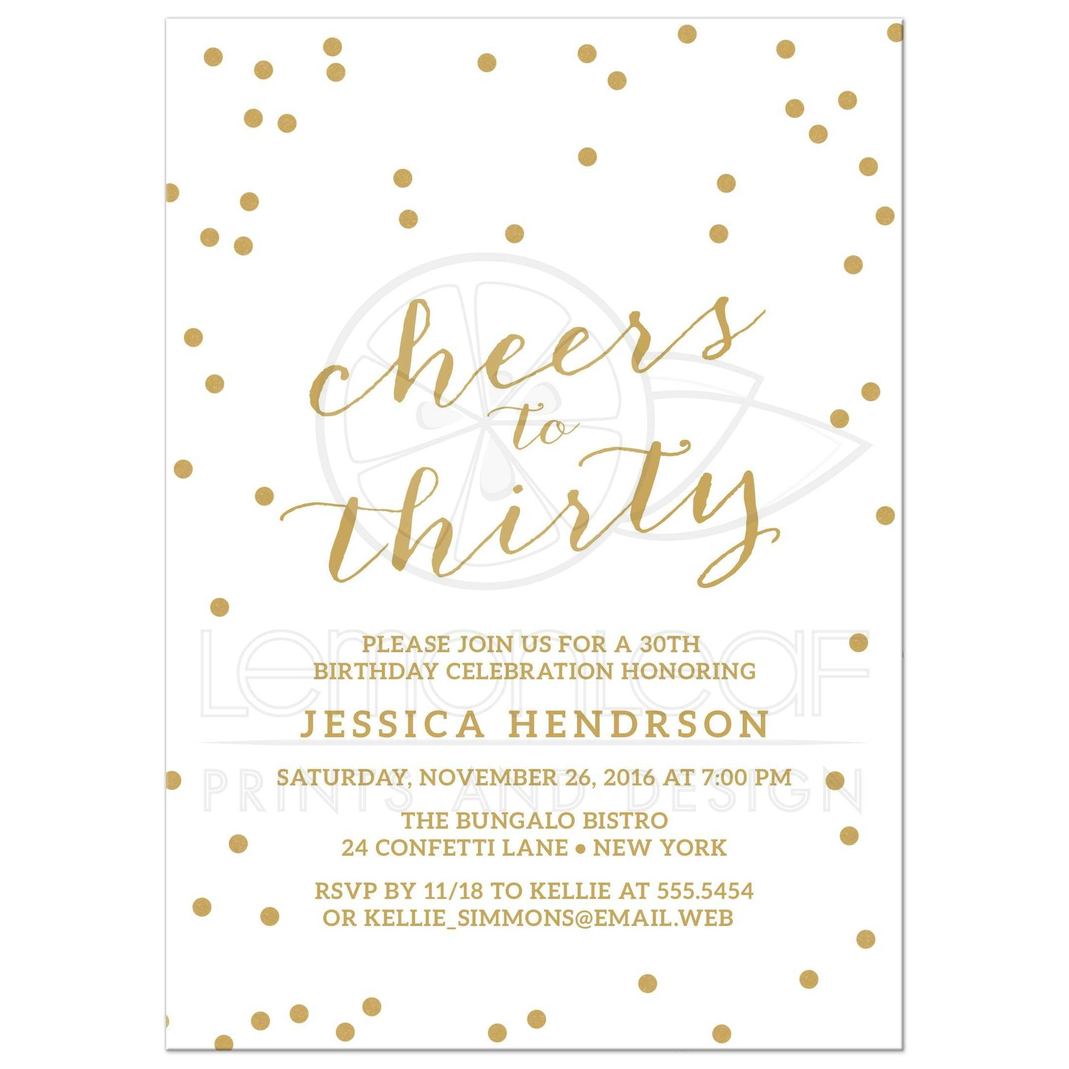Gold Confetti Cheers To Thirty Birthday Party Invitations Front